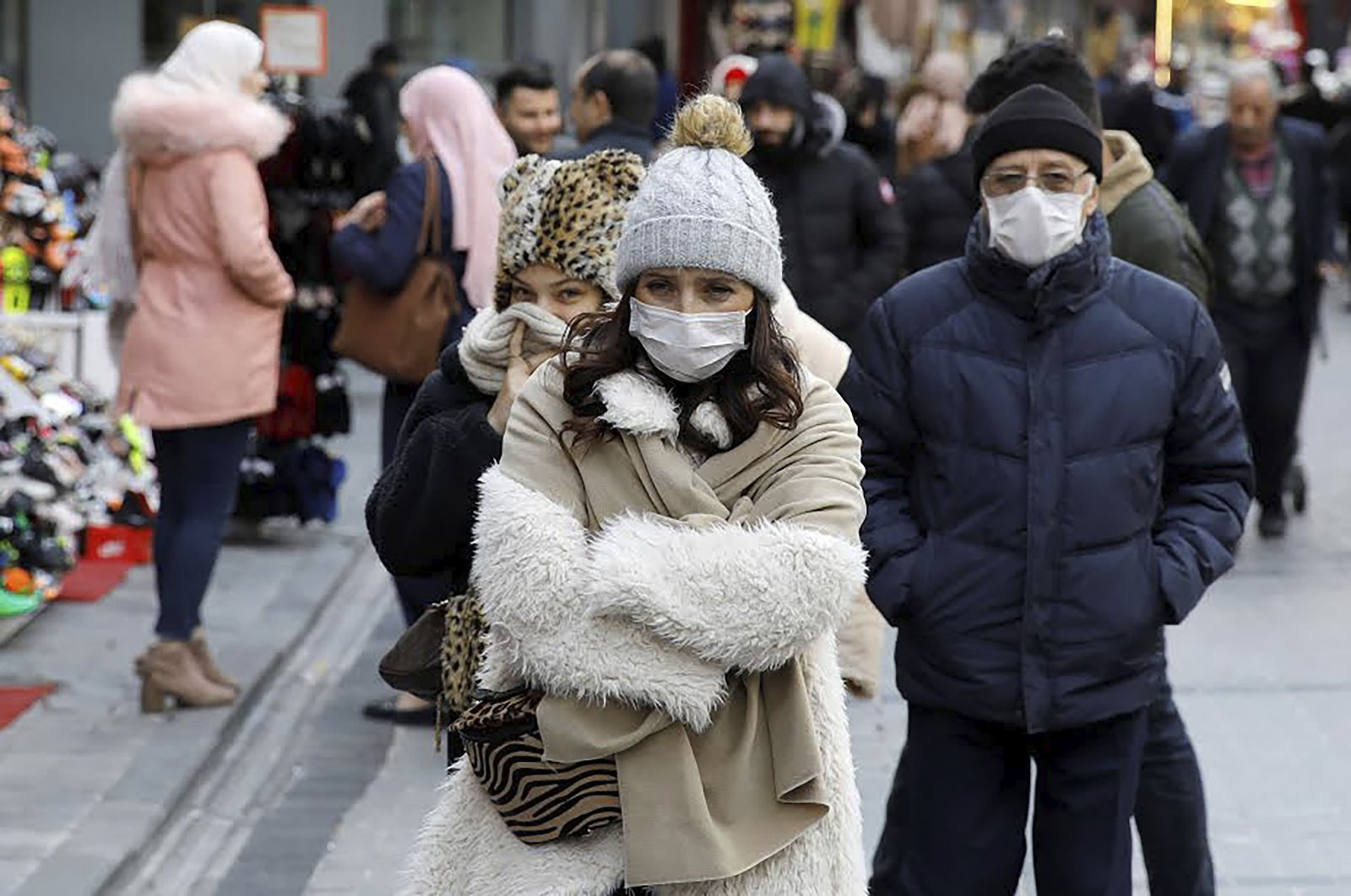 People wear protective masks due to coronavirus concerns in Istanbul, Turkey, March 16, 2020. (Reuters Photo)