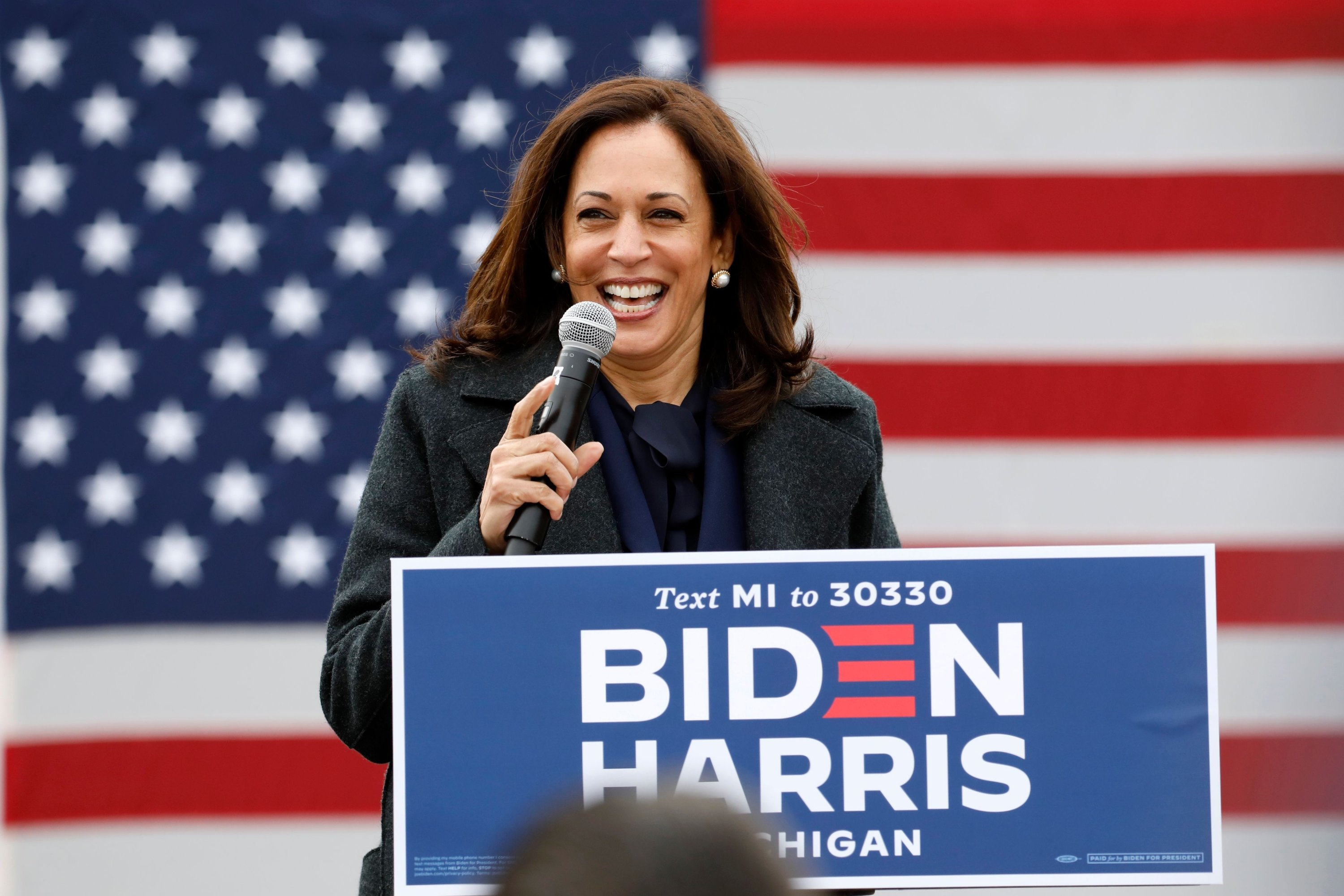 In this file photo taken on Oct. 25, 2020 Democratic vice presidential nominee Senator Kamala Harris (D-CA) speaks at a campaign stop at IBEW Local 58 in Detroit, Michigan. (AFP Photo)