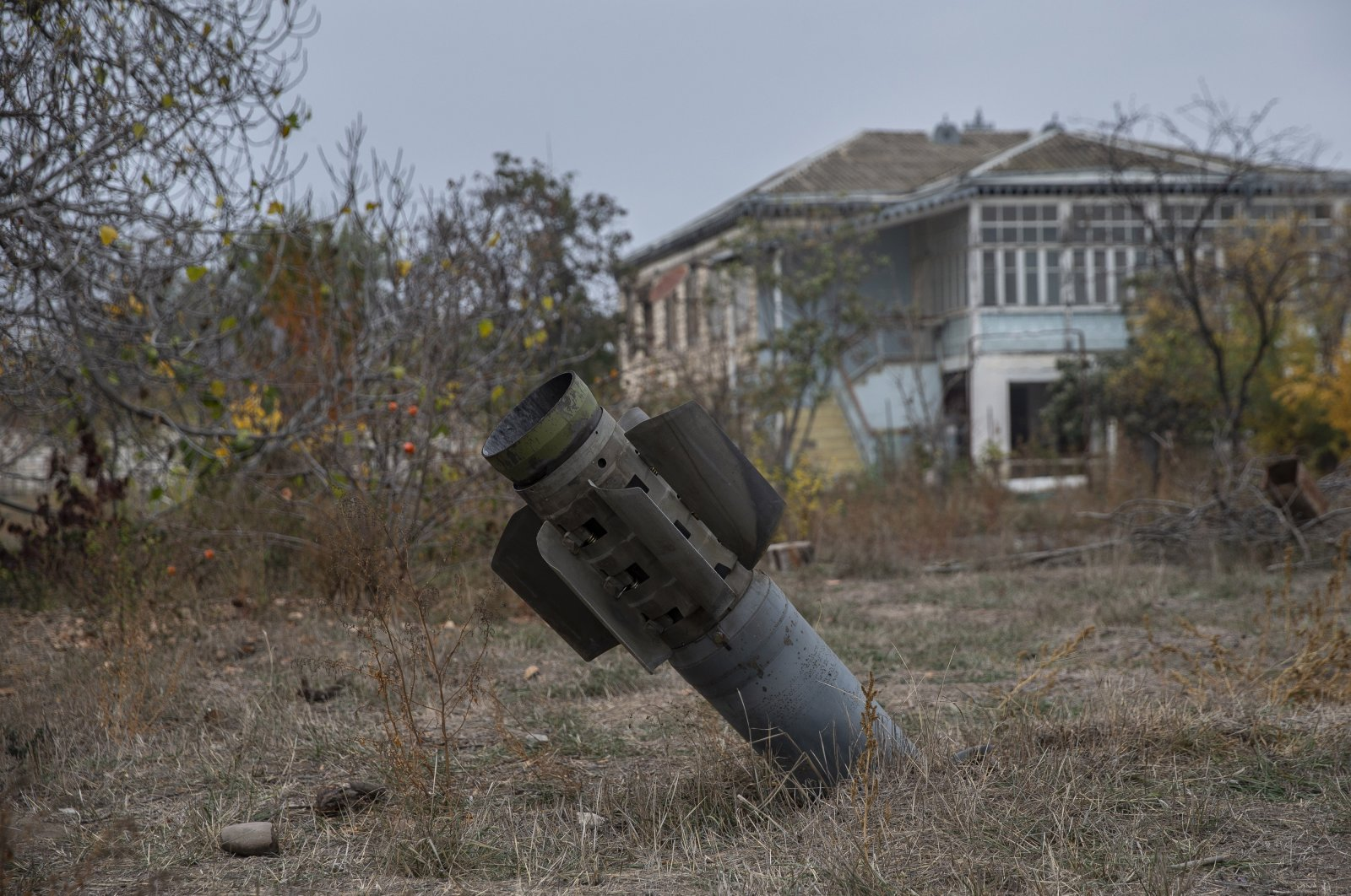 An unexploded Armenian missile in front of a house in Tartar, Azerbaijan, Nov. 5, 2020 (AA Photo)