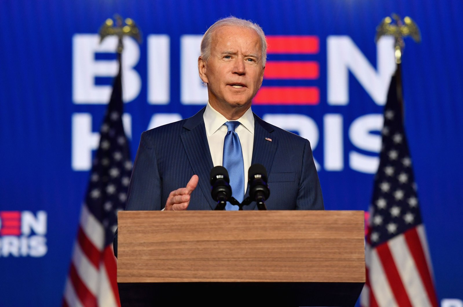 Democratic presidential nominee Joe Biden delivers remarks at the Chase Center in Wilmington, Delaware, on November 6, 2020. (AFP Photo)