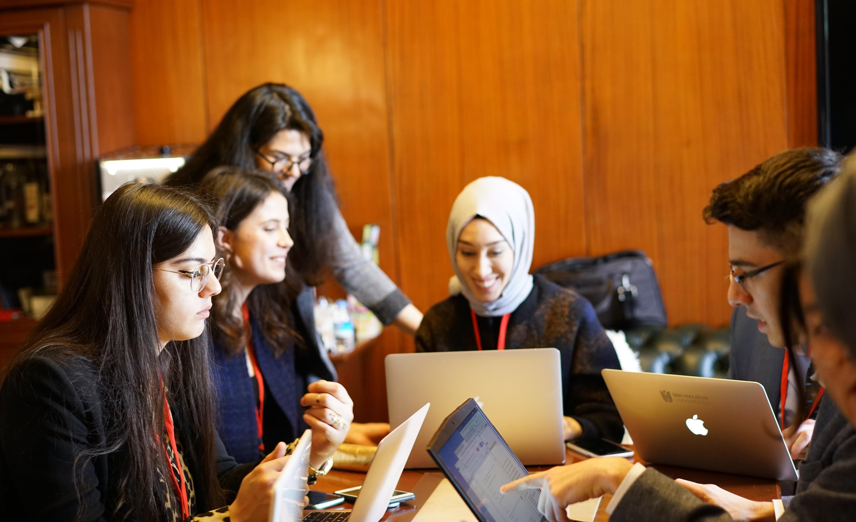 Justice and Development Party (AK Party) Istanbul Deputy Rümeysa Kadak works with a group of young people for the Policy Analysis Group (PAG) workshop at the Turkish Parliament in February 2020. (Handout Photo)