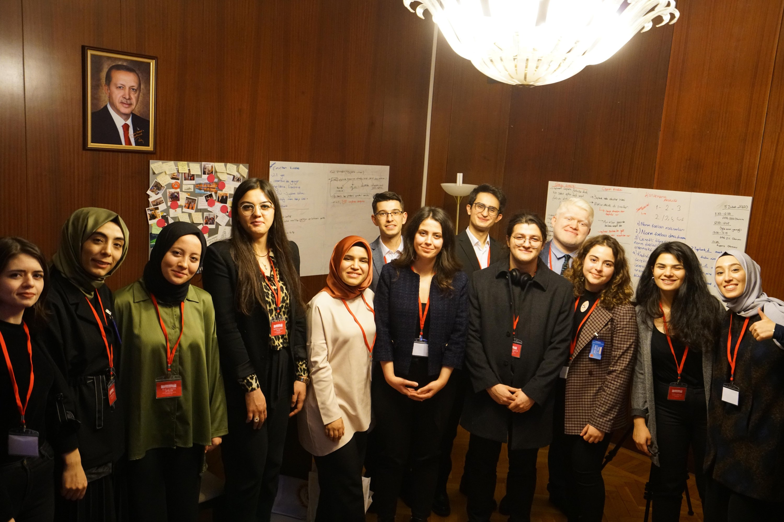 Policy Analysis Group (PAG) participants who attended the first series of workshops held before the COVID-19 pandemic pose for a group photo at the Turkish Parliament in February 2020. (Handout Photo)