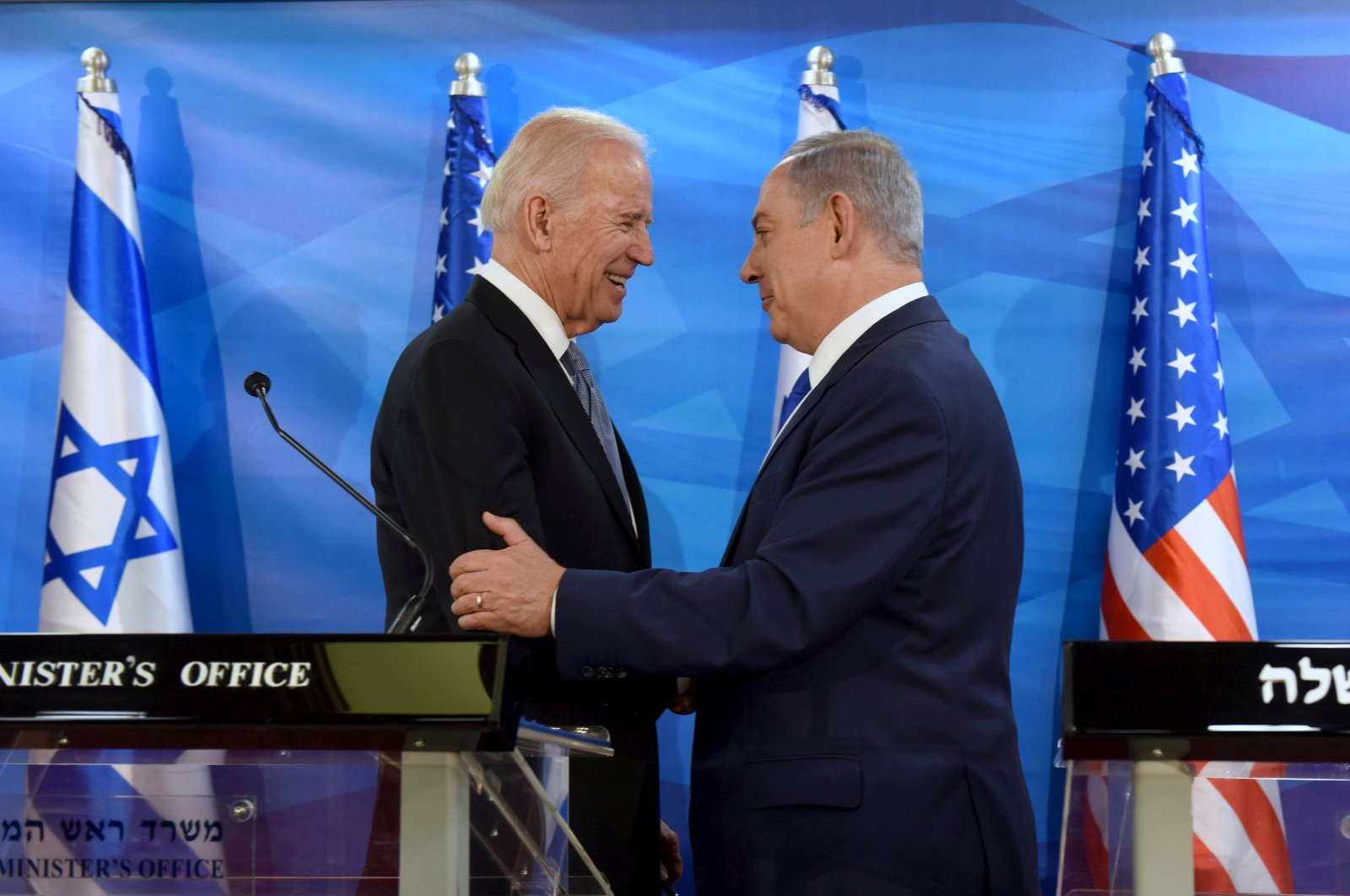 U.S.' then-Vice President Joe Biden (L) shakes hands with Israeli Prime Minister Benjamin Netanyahu as they deliver joint statements during their meeting in Jerusalem March 9, 2016. (Reuters Photo)