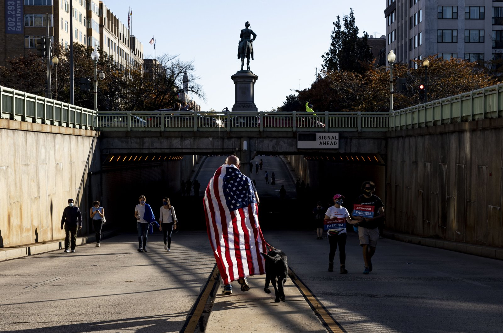 A man covered with the U.S. national flag walks his dog during the celebrations for Joe Biden's victory in the U.S. presidential election, in New York City, Nov. 8, 2020. (AA Photo)