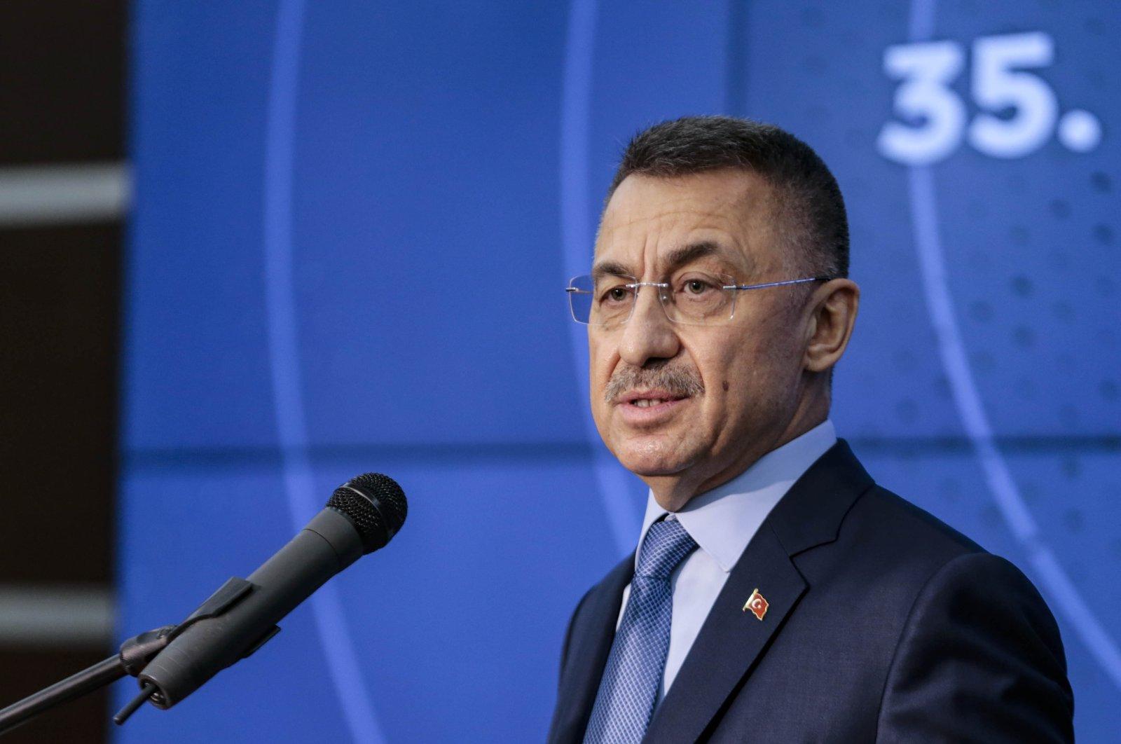 Turkish Vice President Fuat Oktay gives a speech at an event in Ankara, Nov. 6, 2020. (AA)
