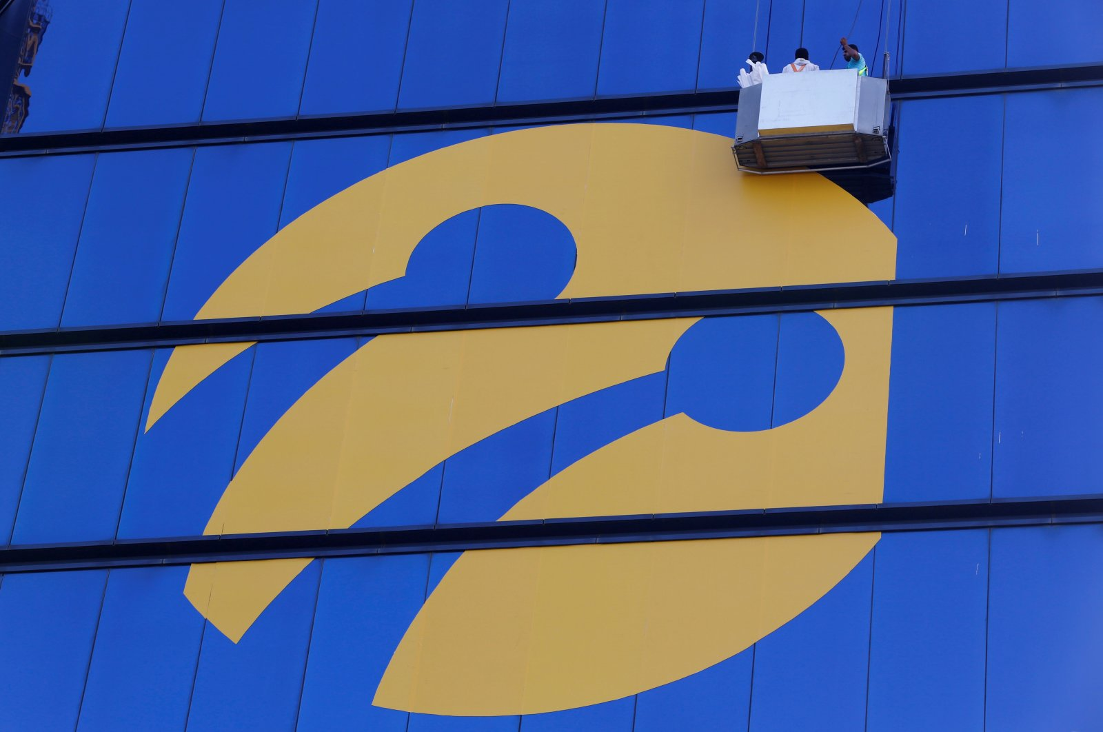 The logo of Turkcell on the Tat Towers in Istanbul, Turkey, June 29, 2016. (Reuters Photo)