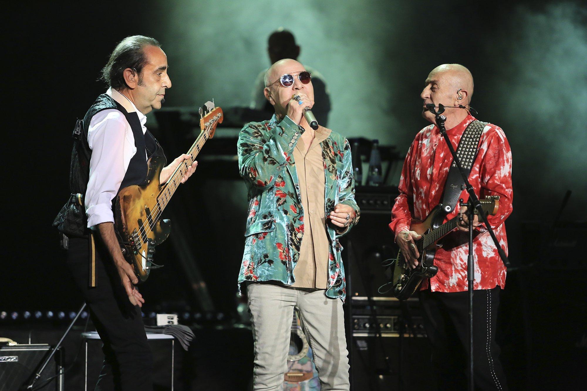 Özkan (L), Mazhar (C) and Fuat from the music group MFÖ performs at the Harbiye Cemil Topuzlu Open-Air Theater in Şişli, Istanbul, August 8, 2019. (SABAH/Günaydın File Photo)