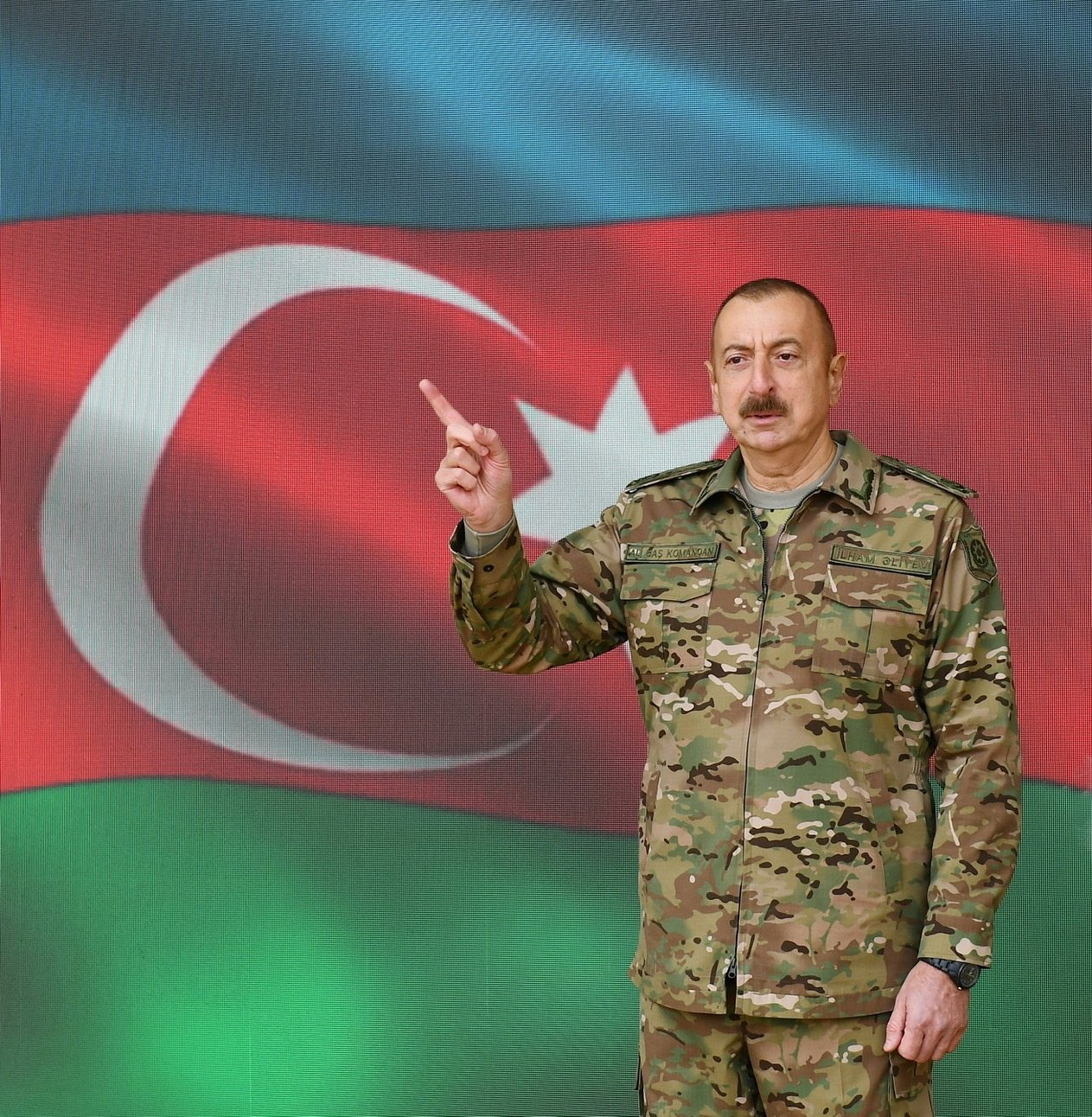 Azerbaijan's President Ilham Aliyev gestures as he addresses the nation during his visit to the Alley of Martyrs in Baku, Azerbaijan on Nov. 8, 2020. (Reuters Photo)