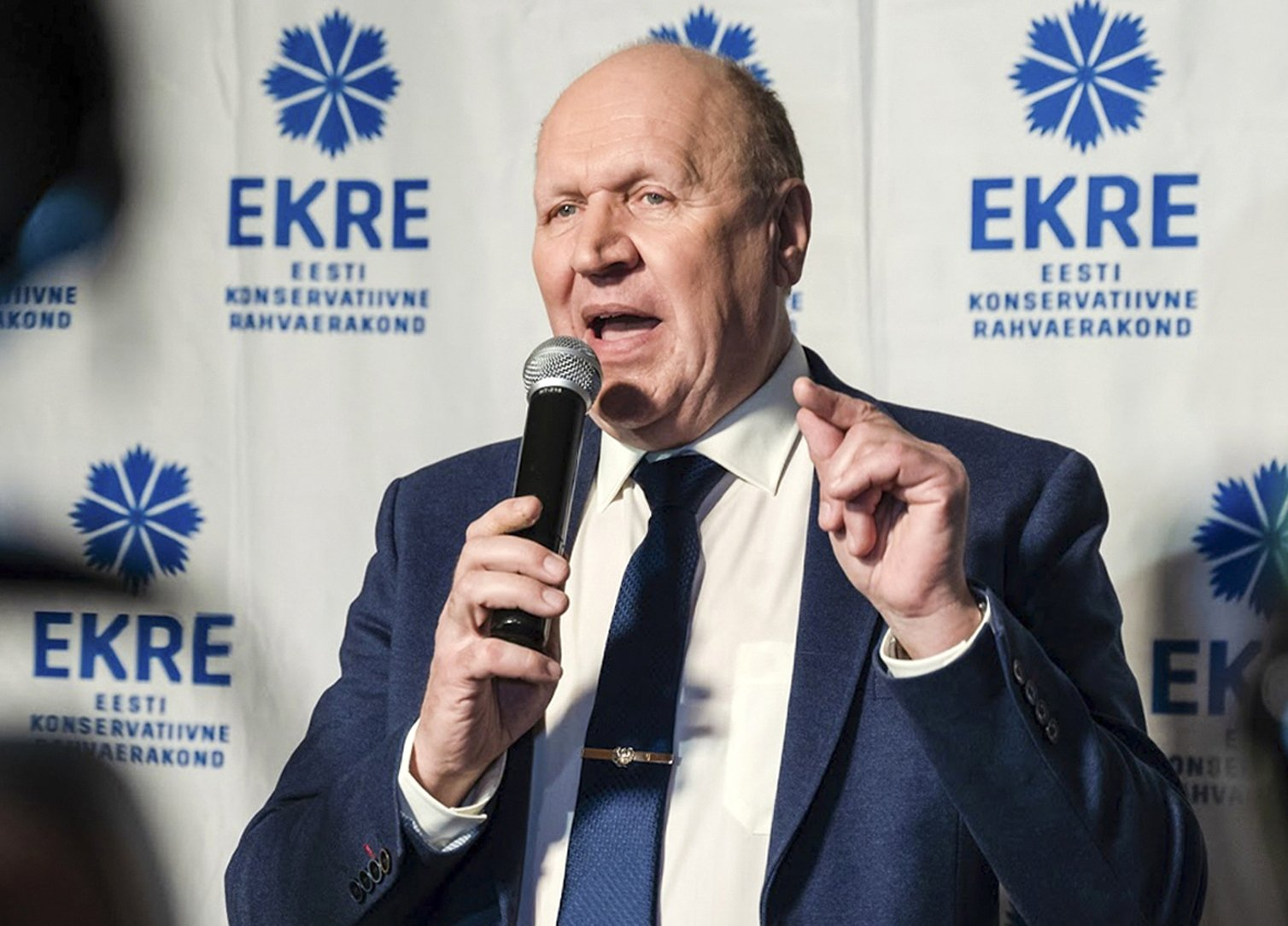 Estonia's far-right interior minister, Mart Helme, speaks at Ekre party headquarters after parliamentary elections in Tallinn, Estonia, March 4, 2019. (AP Photo)