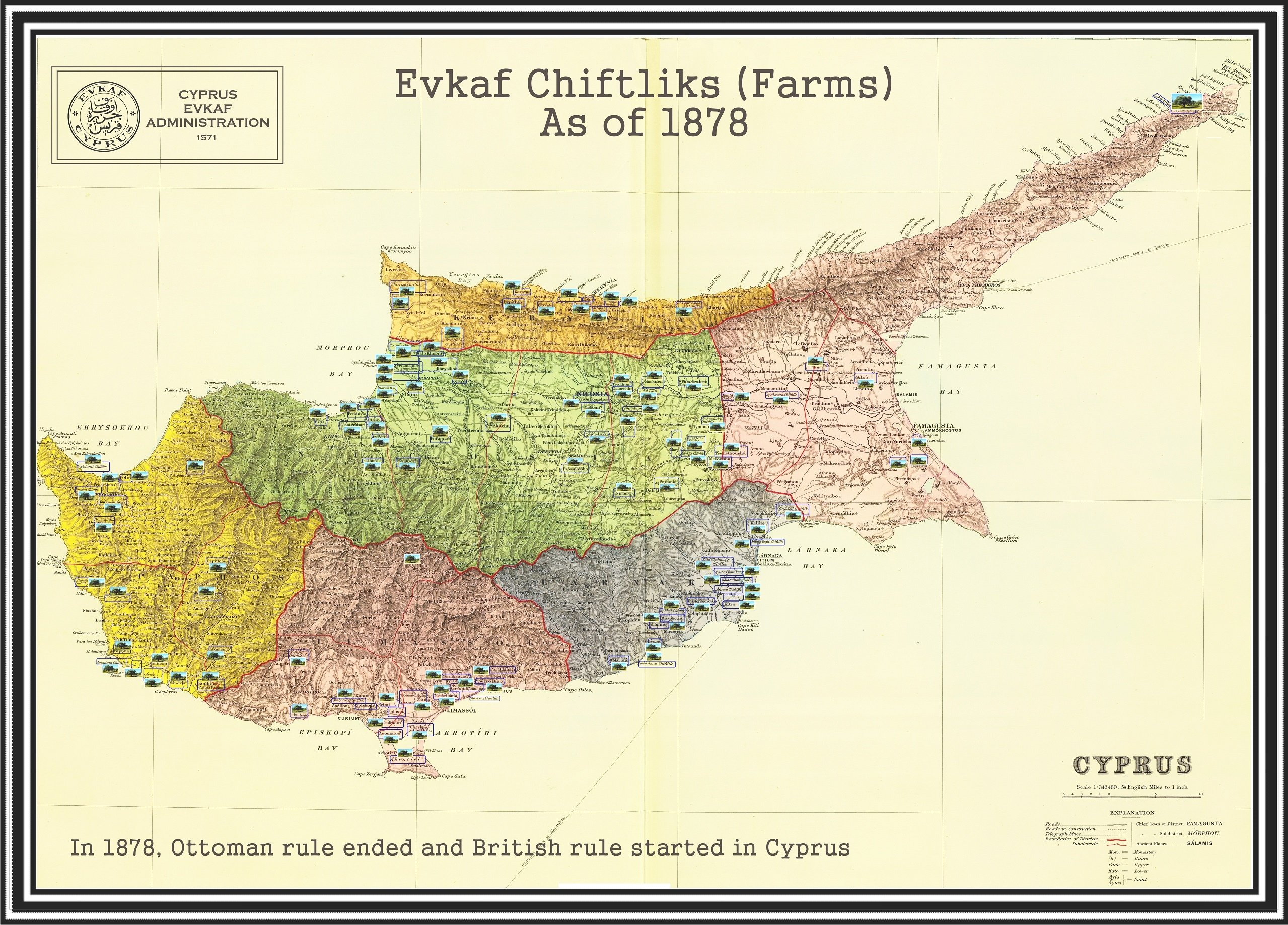 This map provided by the Evkaf Foundation shows farms endowed as waqf properties in Cyprus in 1878, when the British assumed the control of the island from the Ottomans. Three farms are visible in Varosha.