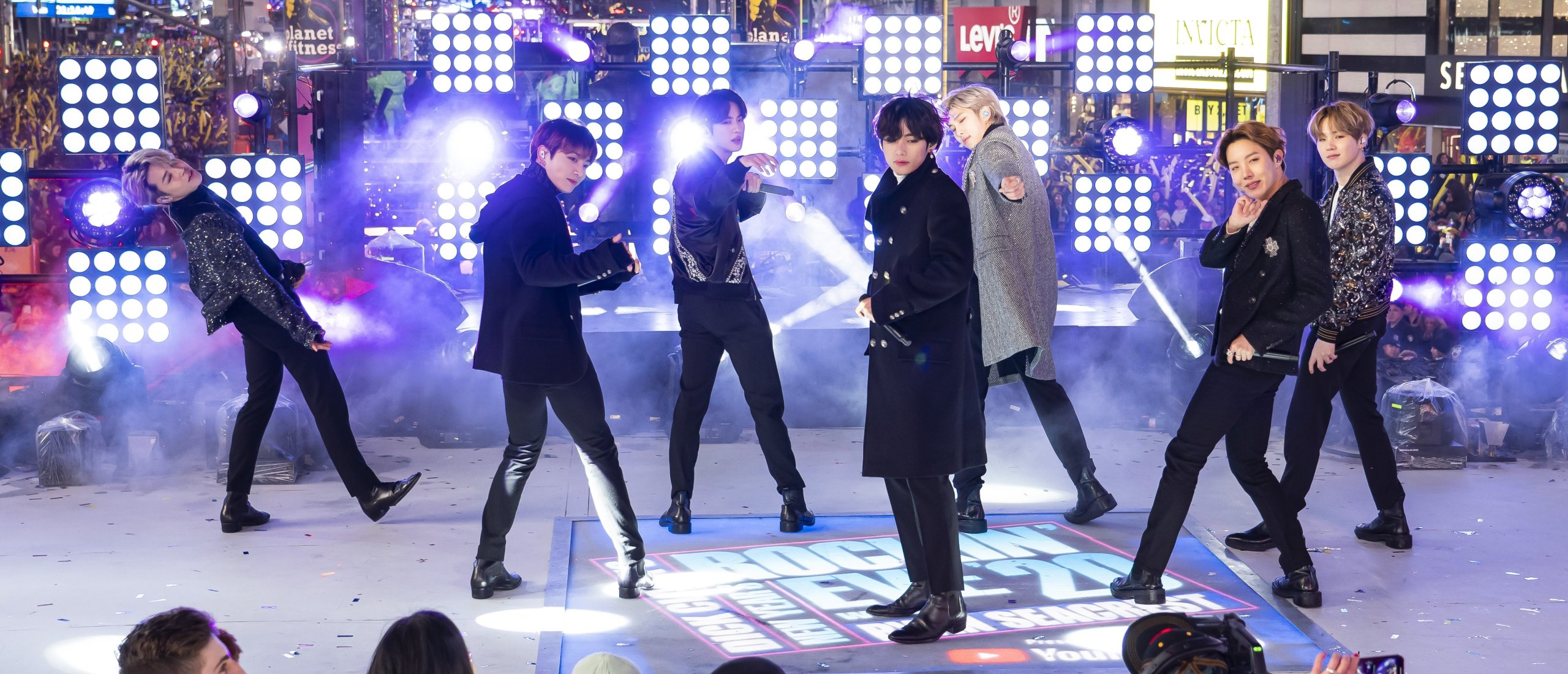 Members of BTS perform at the Times Square New Year's Eve celebration in New York City, New York, U.S., on Dec. 31, 2019. (AP PHOTO)