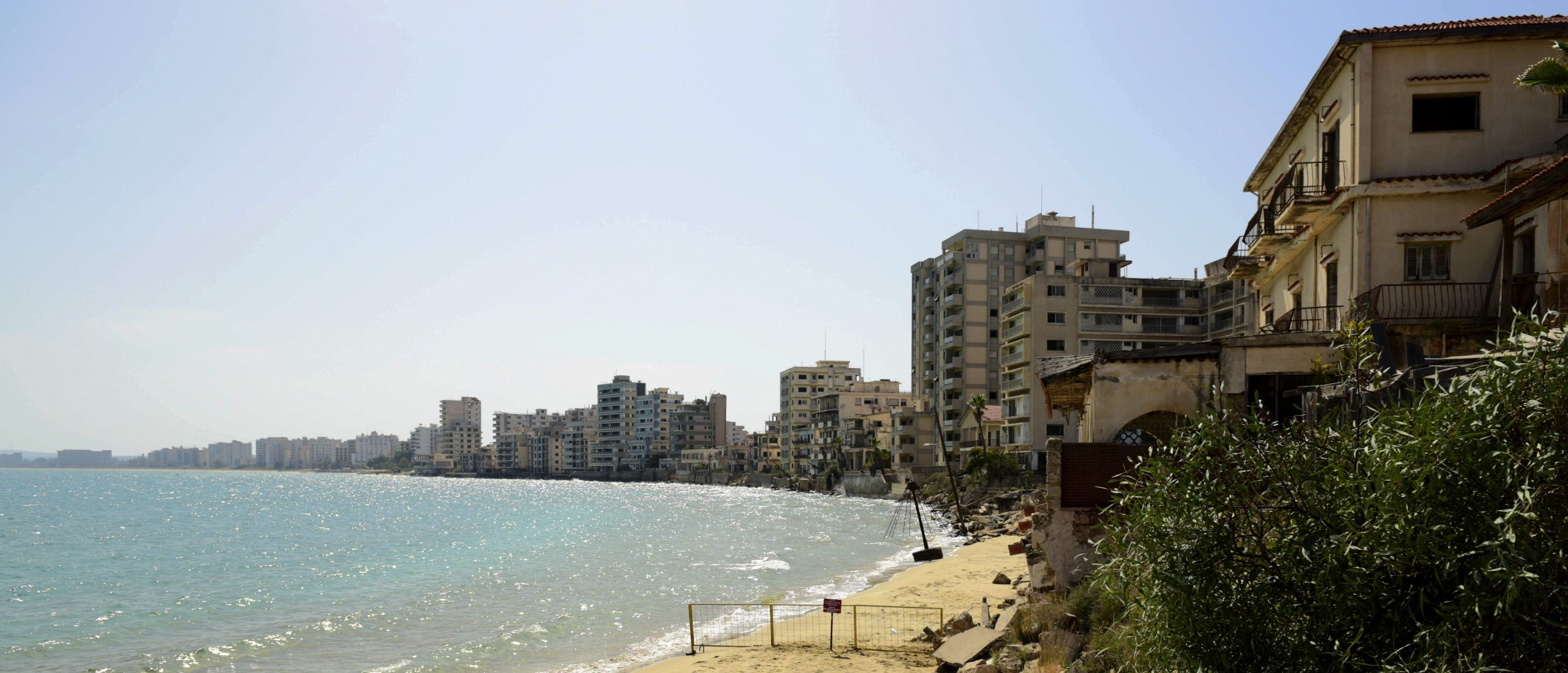 The beach with abandoned hotels seen after police open the beachfront of Varosha (Maraş) in TRNC on Oct. 8, 2020. (AP Photo)