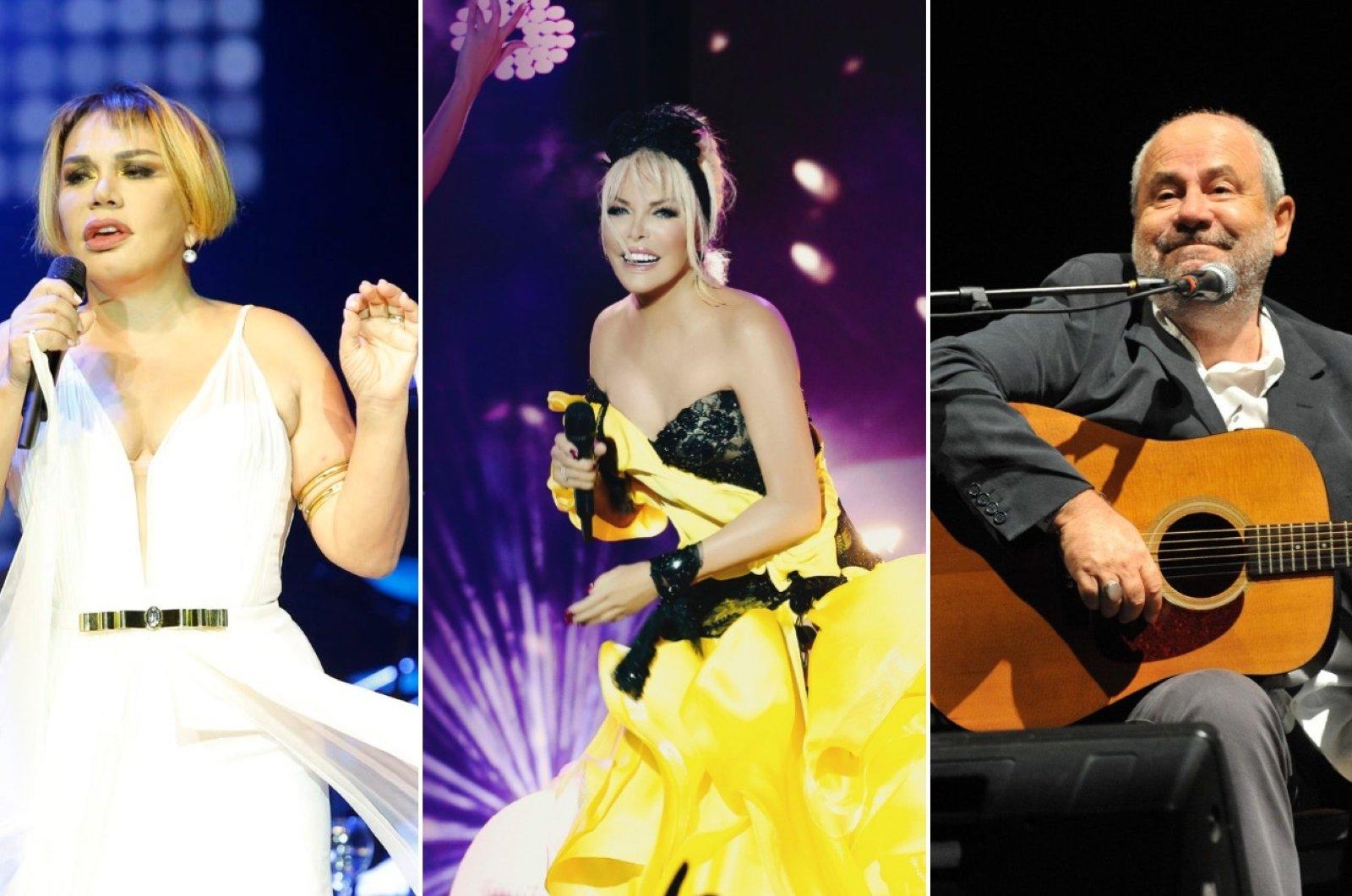 From L to R: Turkish singers Sezen Aksu, Ajda Pekkan, Bülent Ortaçgil and Tanju Okan. (Günaydın/Sabah/Takvim File Photos)