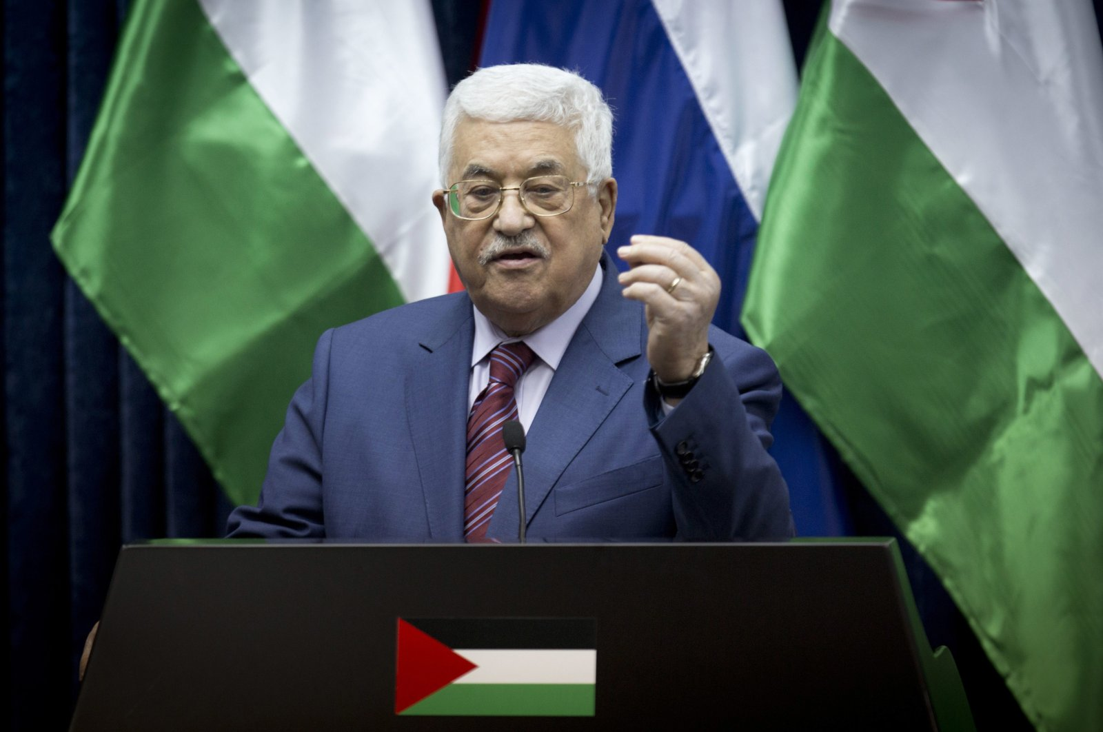 Palestinian President Mahmoud Abbas speaks during a press conference with Russian Prime Minister Dmitry Medvedev following a meeting in the West Bank city of Jericho, Nov. 11, 2016. (AP Photo)