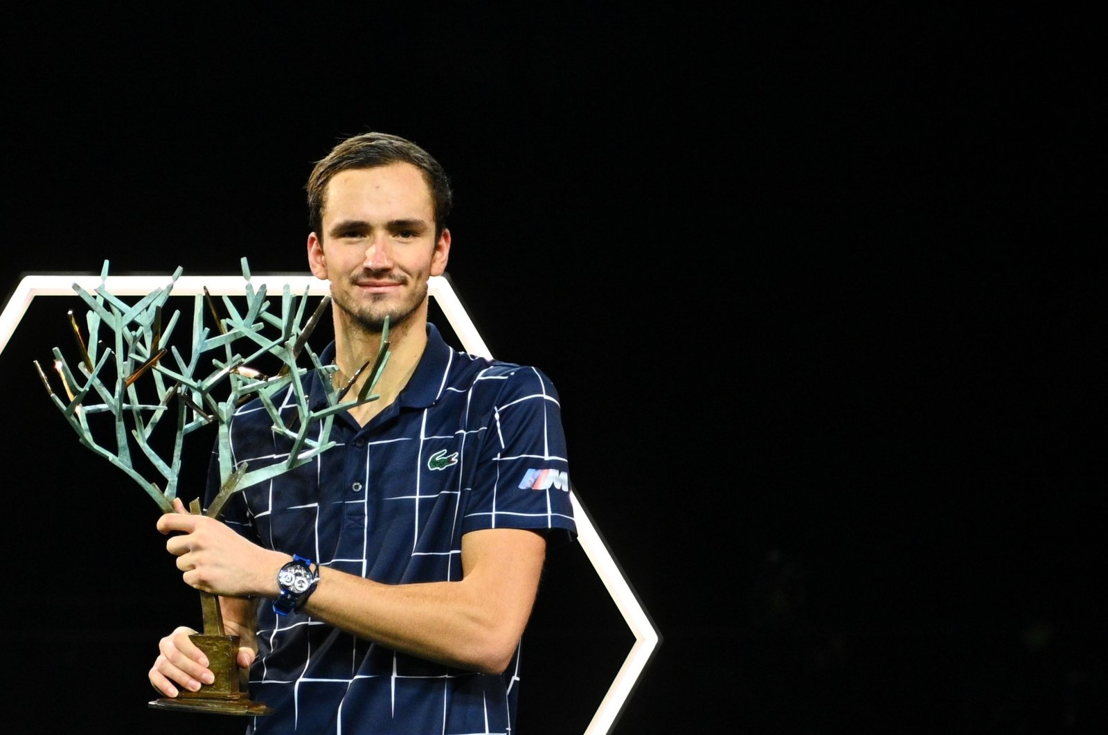 Daniil Medvedev poses with the Paris Masters trophy after winning the tournament, in Paris, France, Nov. 8, 2020. (AFP Photo)