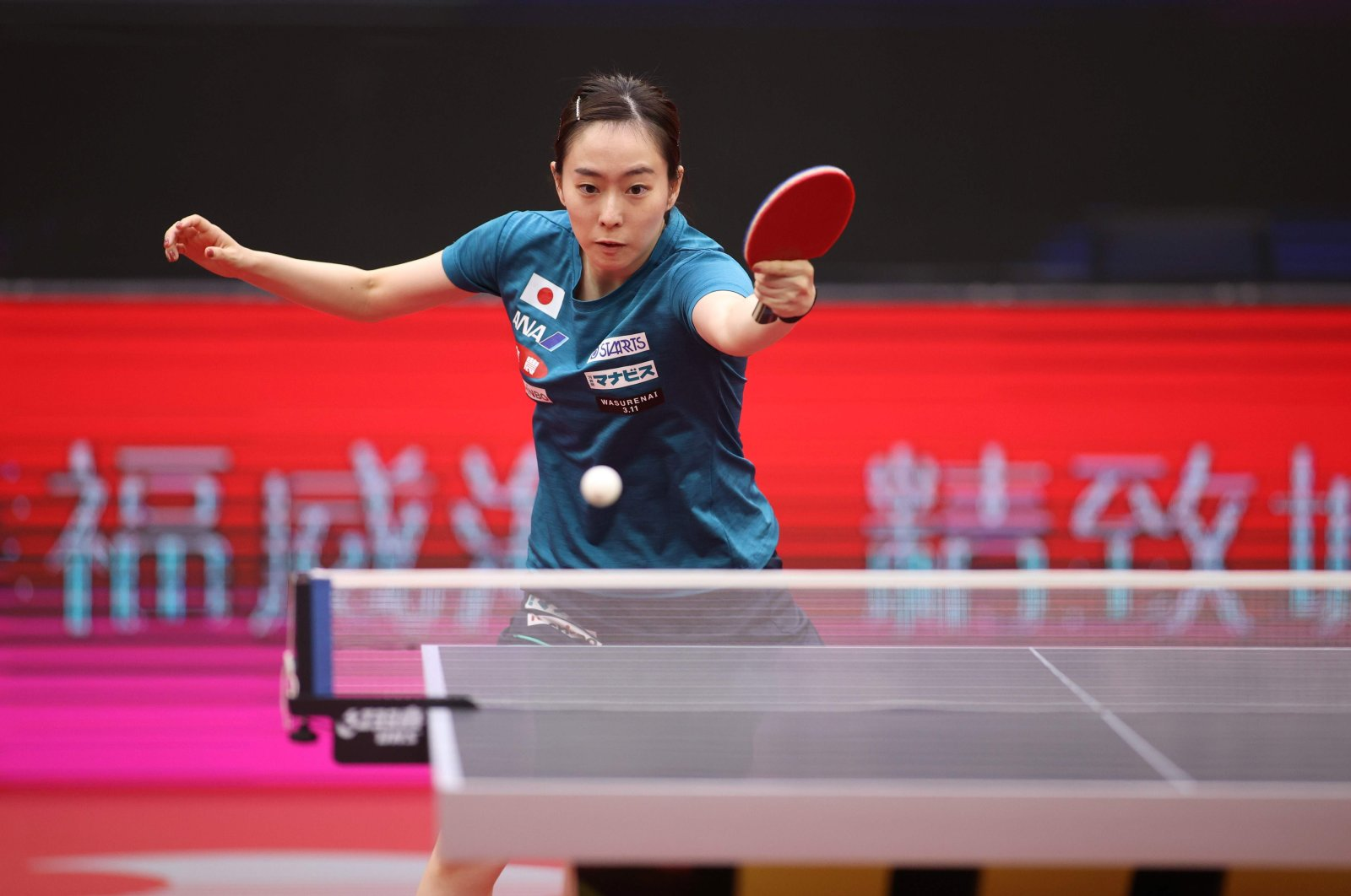 Kasumi Ishikawa of Japan during a training session ahead of the Women's World Cup table tennis competition. in Weihai, China, Nov. 7, 2020. (AFP Photo)