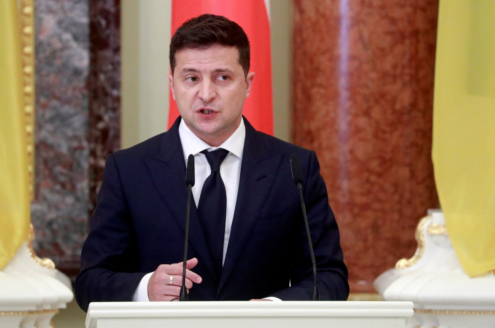 Ukrainian President Volodymyr Zelenskiy speaks during a joint news briefing with Polish President Andrzej Duda (not pictured) as they meet in Kyiv, Ukraine, Oct. 12, 2020. (Reuters Photo)