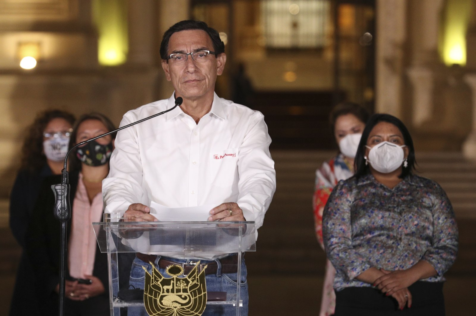 Peru's President Martin Vizcarra speaks in front of the presidential palace after lawmakers voted to remove him from office in Lima, Peru, Nov. 9, 2020. (AP Photo)