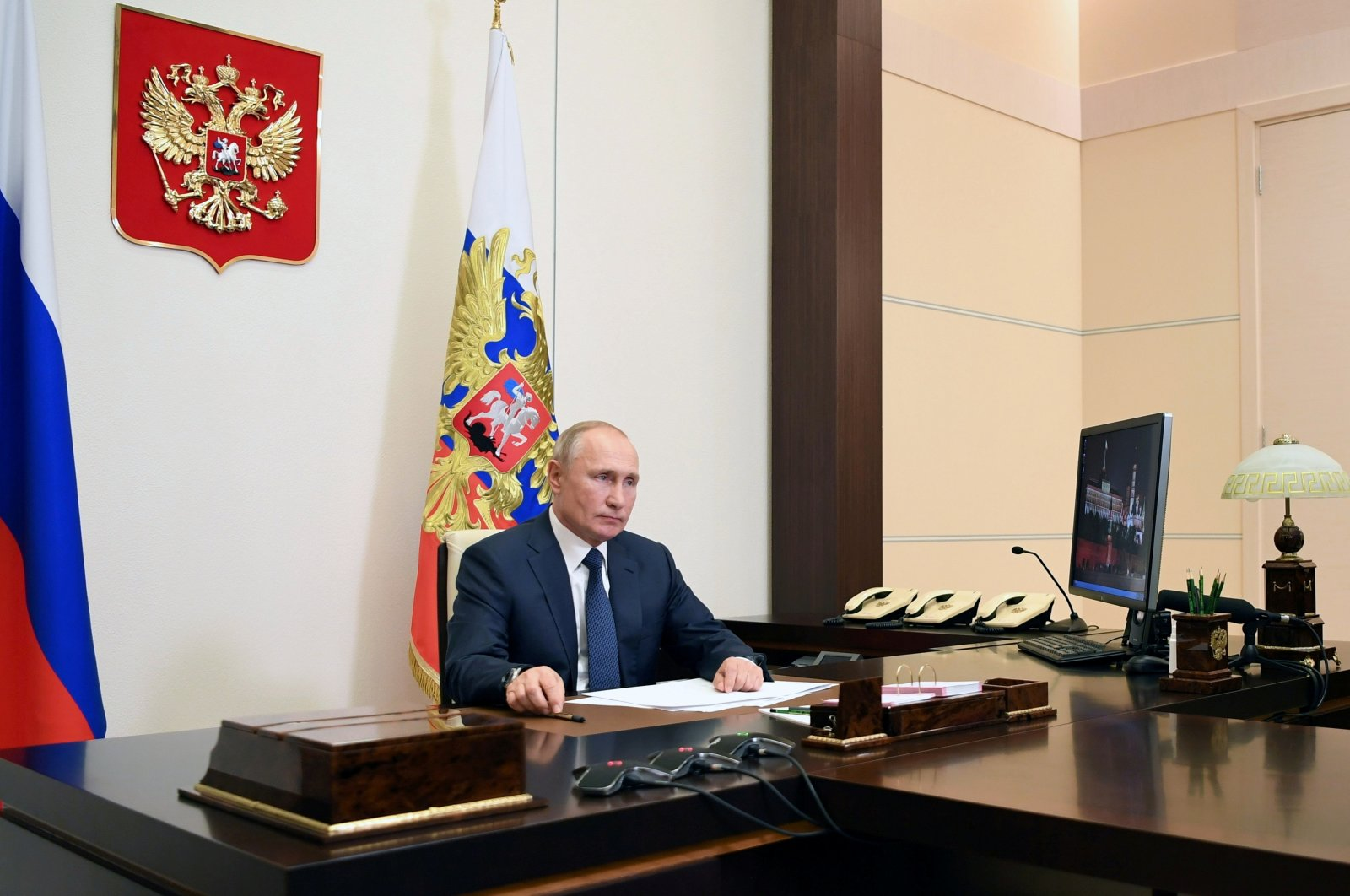 Russian President Vladimir Putin speaks about the signed deal on a complete halt of combat actions over the Nagorno-Karabakh region at the Novo-Ogaryovo state residence outside Moscow, Russia, Nov. 10, 2020. (Reuters Photo)