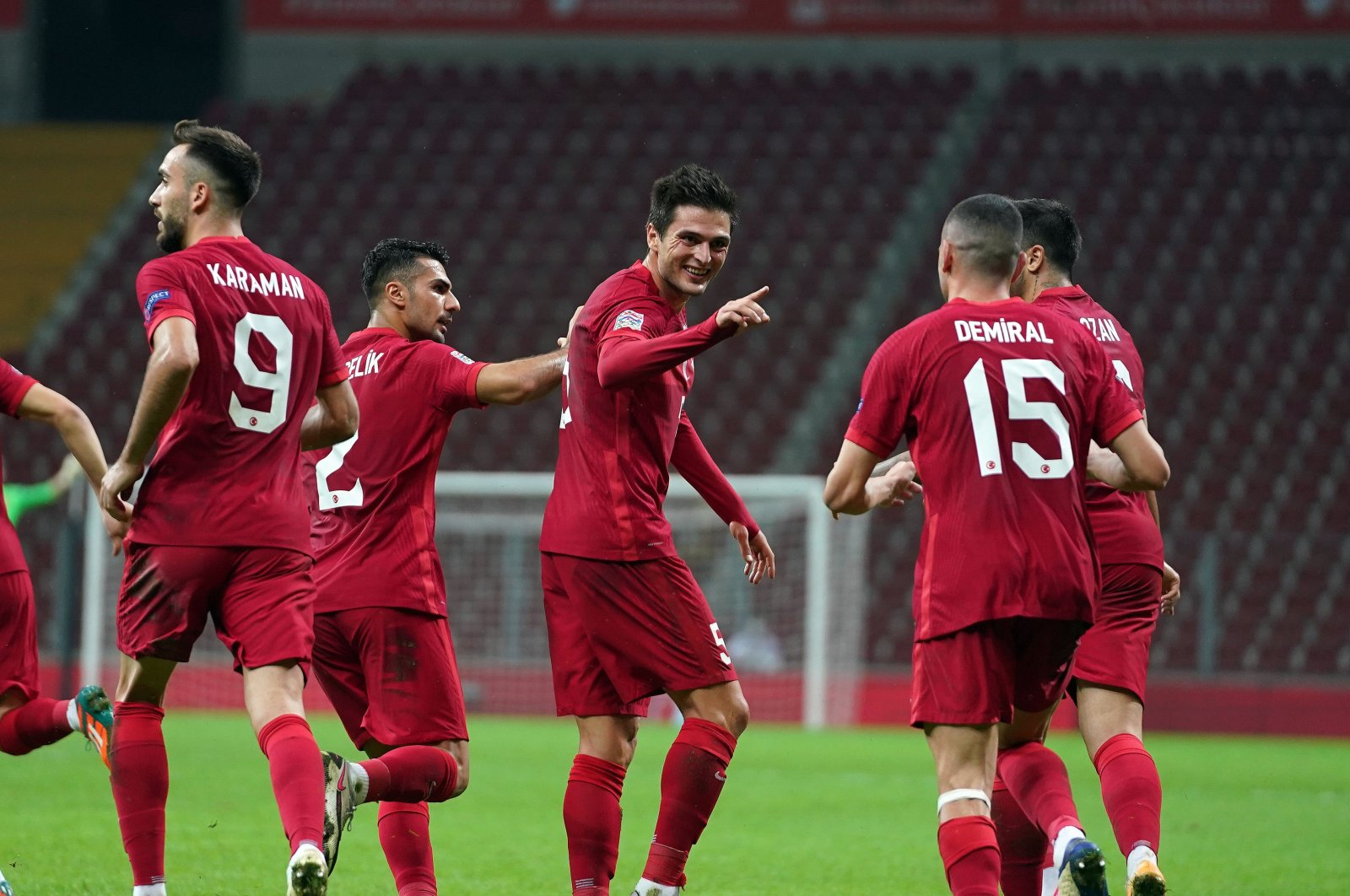 Turkey players celebrate a goal against Serbia during a UEFA Nations League match, in Istanbul, Turkey, Oct. 14, 2020. (IHA Photo)