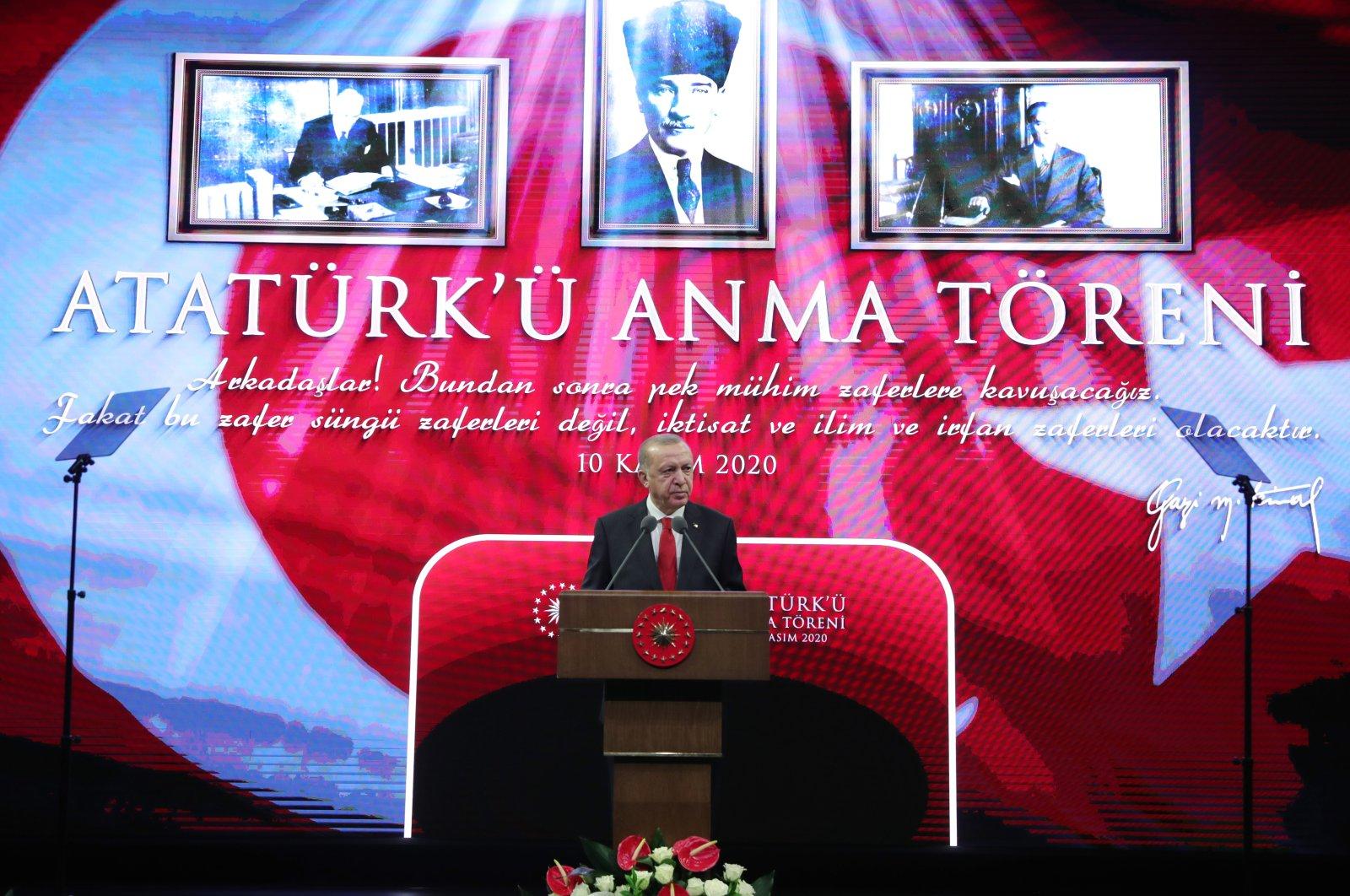President Recep Tayyip Erdoğan speaks during a ceremony to commemorate the 82nd death anniversary of Mustafa Kemal Atatürk, the founder of the Republic of Turkey, in Ankara, Turkey, Nov. 10, 2020. (AA Photo)