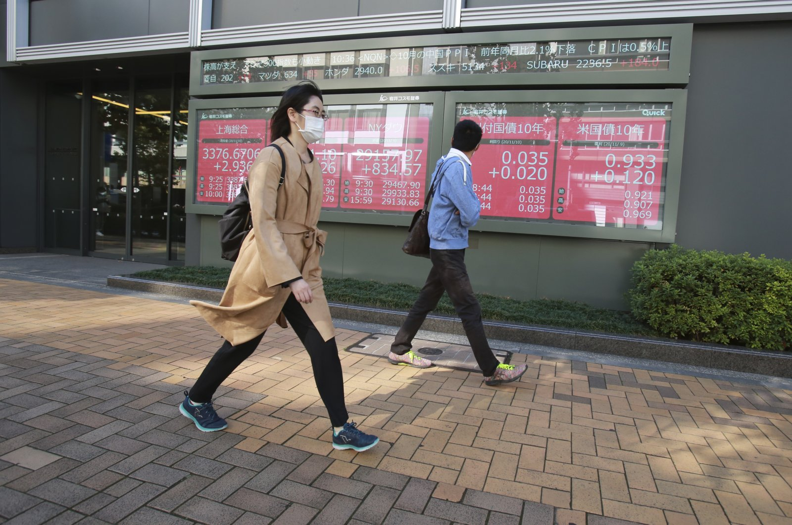 People walk by an electronic stock board of a securities firm, Tokyo, Nov. 10, 2020. (AP Photo)