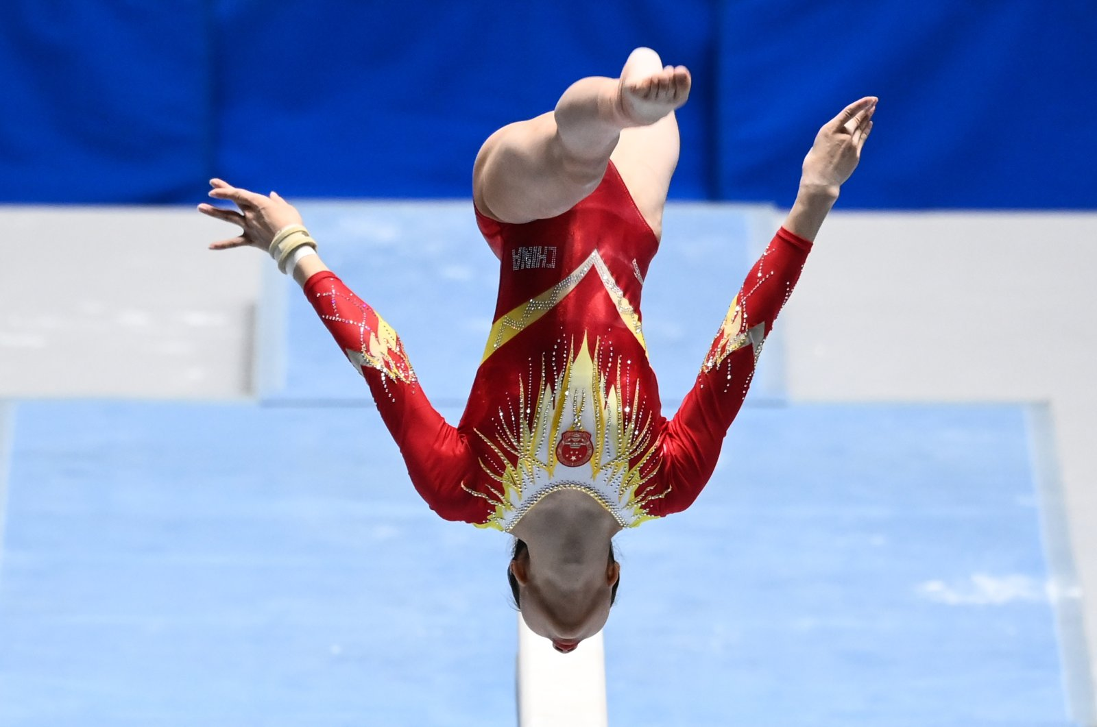Zhou Ruiyu of China competes on the balance beam during the Friendship and Solidarity Competition gymnastics event, in Tokyo, Japan, Nov. 8, 2020. (AFP Photo)