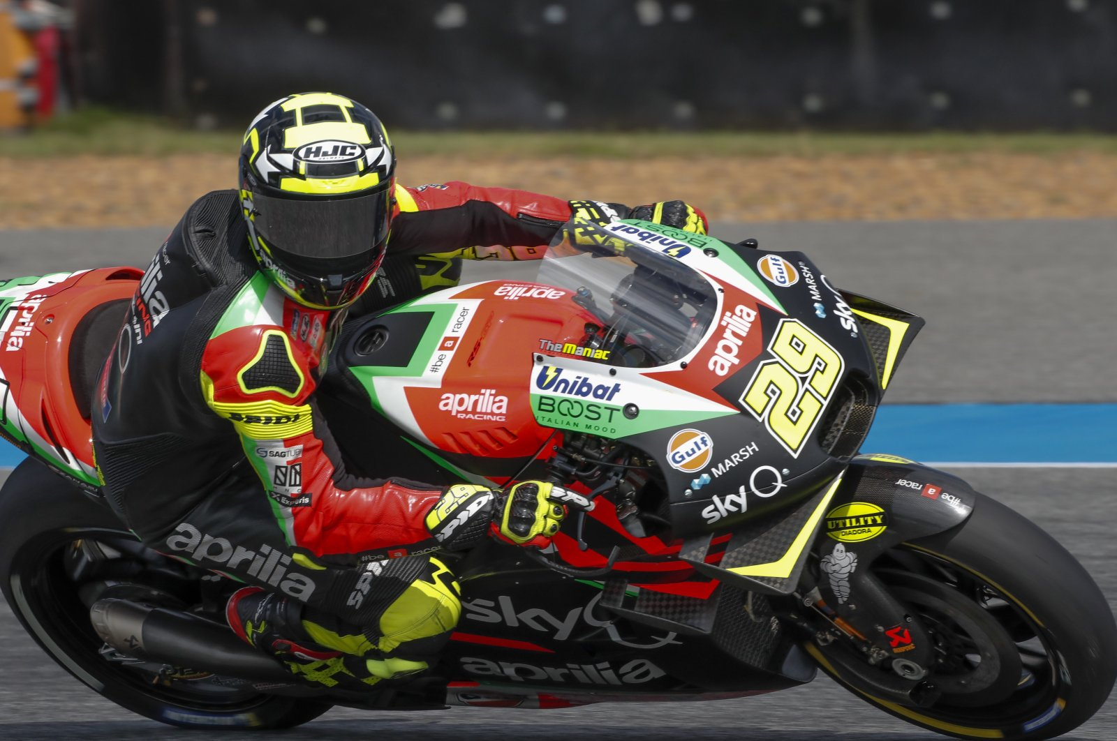 Andrea Iannone in action during Thailand MotoGP race, in Buriram, Thailand, Oct. 5, 2019. (AP Photo)