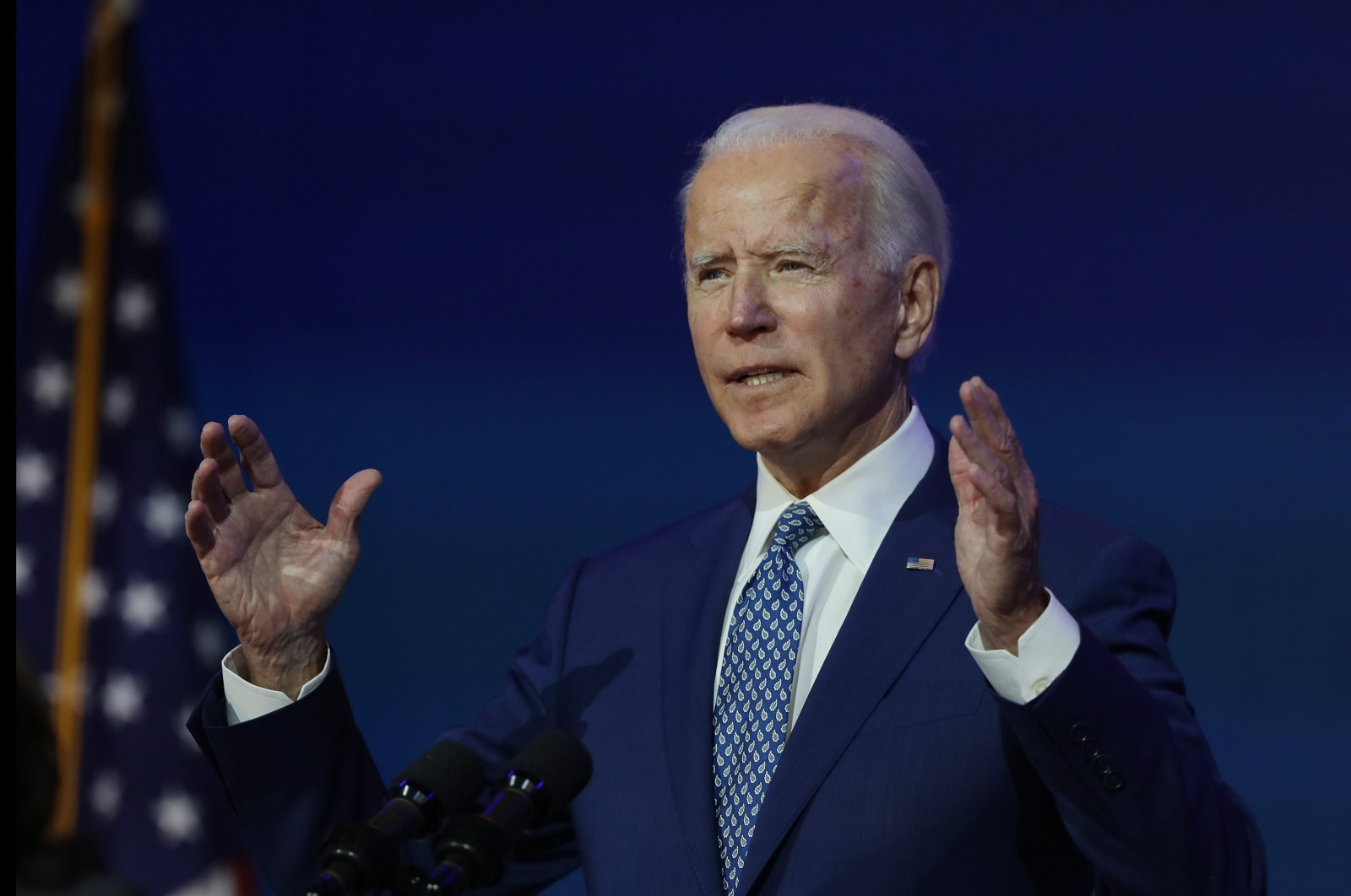 President-elect Joe Biden speaks to the media after receiving a briefing from the transition COVID-19 advisory board at the Queen Theater in Wilmington, Delaware, U.S., Nov. 9, 2020. (AFP Photo)