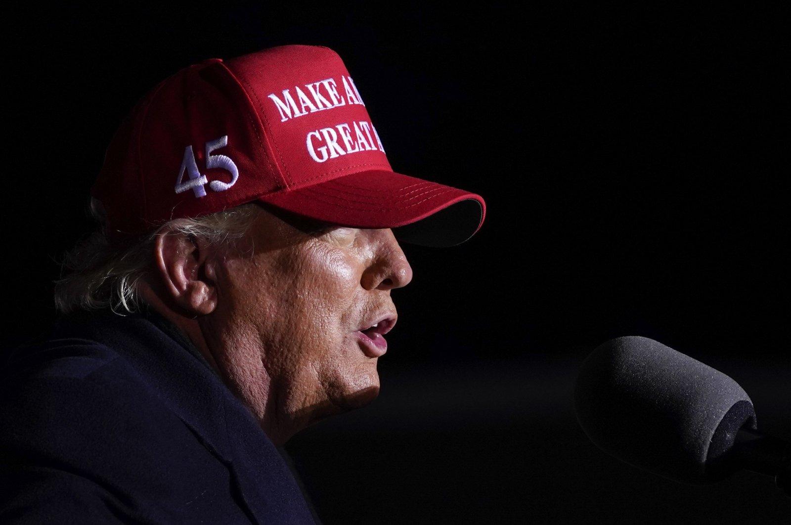 U.S. President Donald Trump speaks during a campaign rally at Kenosha Regional Airport, Monday, Nov. 2, 2020, in Kenosha, Wis. (AP Photo)