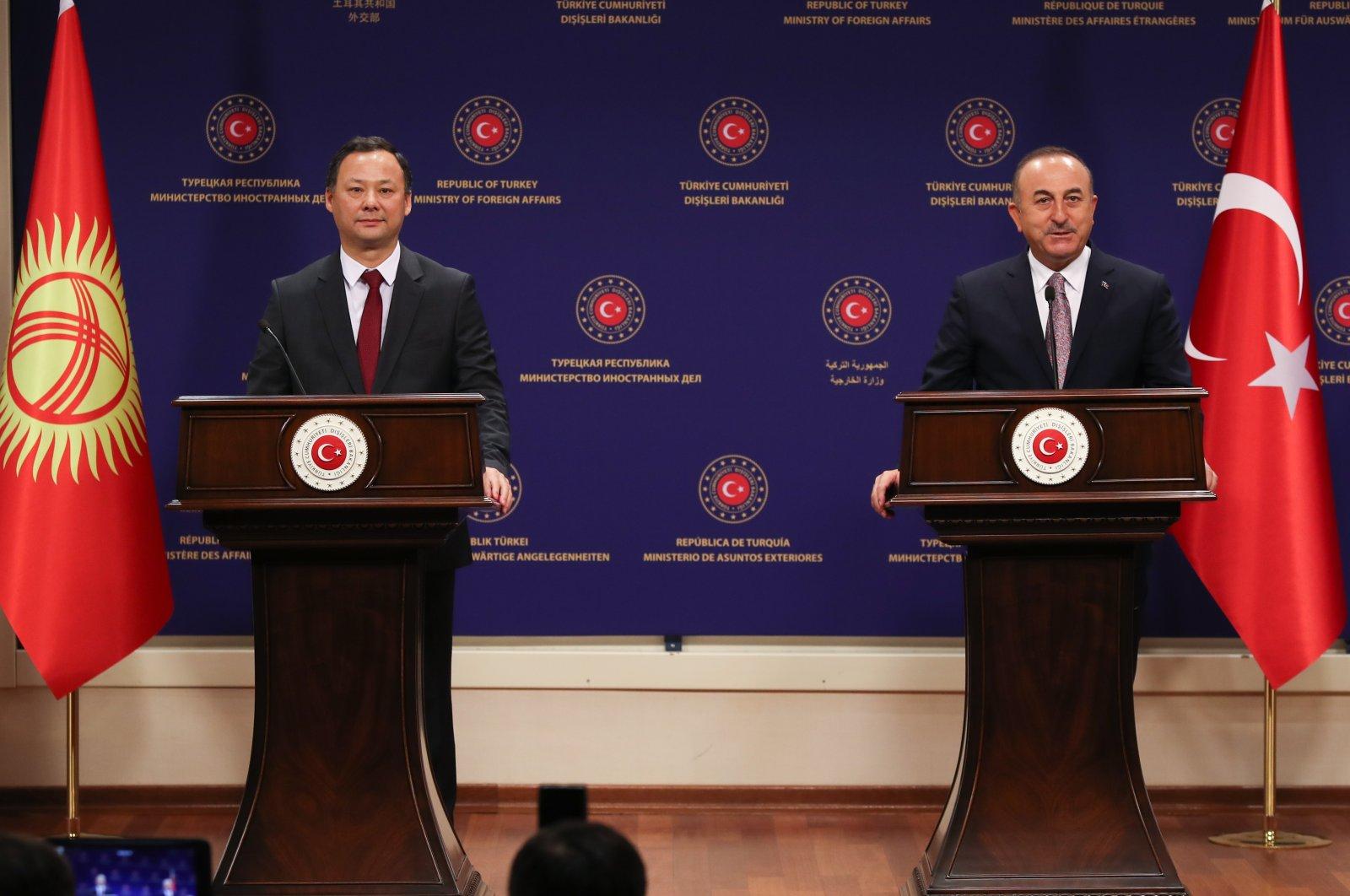 Foreign Minister Mevlüt Çavuşoğlu (R) and his Kyrgyz counterpart Ruslan Kazakbaev speak during a joint press conference in the capital Ankara, Nov. 10, 2020. (AA Photo)