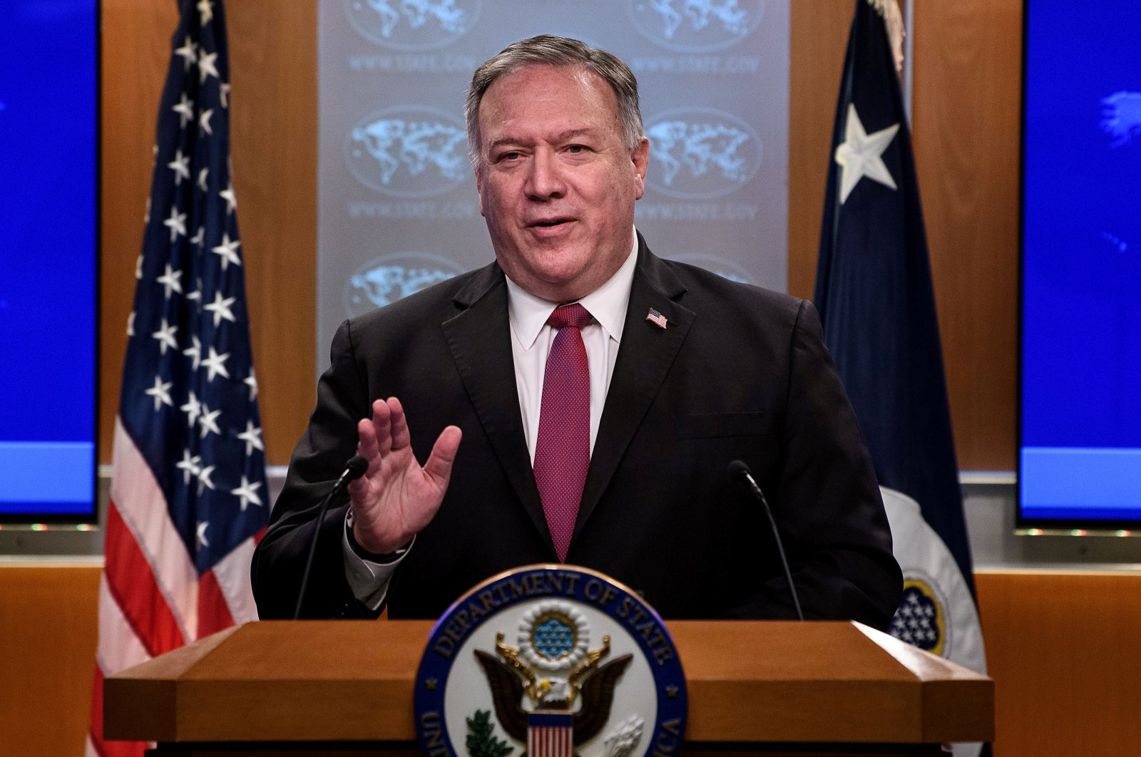 U.S. Secretary of State Mike Pompeo speaks at a news conference at the State Department in Washington, DC, U.S. October 21, 2020. (Reuters Photo)