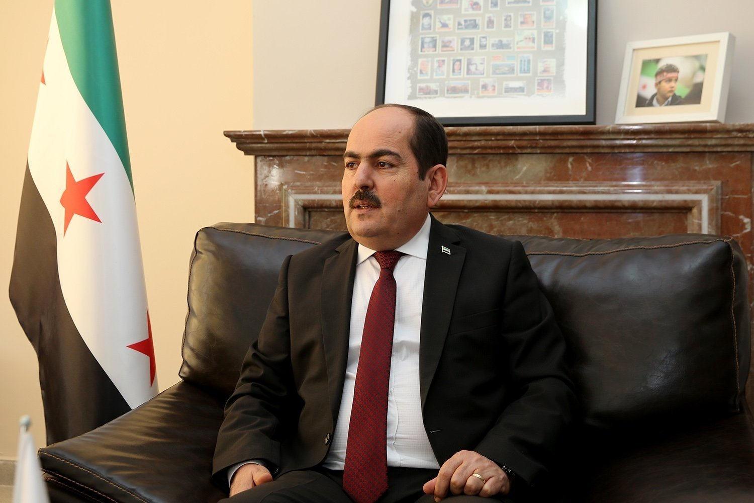 Abdurrahman Mustafa, head of the Syrian Interim Government, speaks during an interview with Daily Sabah, Sept. 17, 2018. (Daily Sabah Photo)