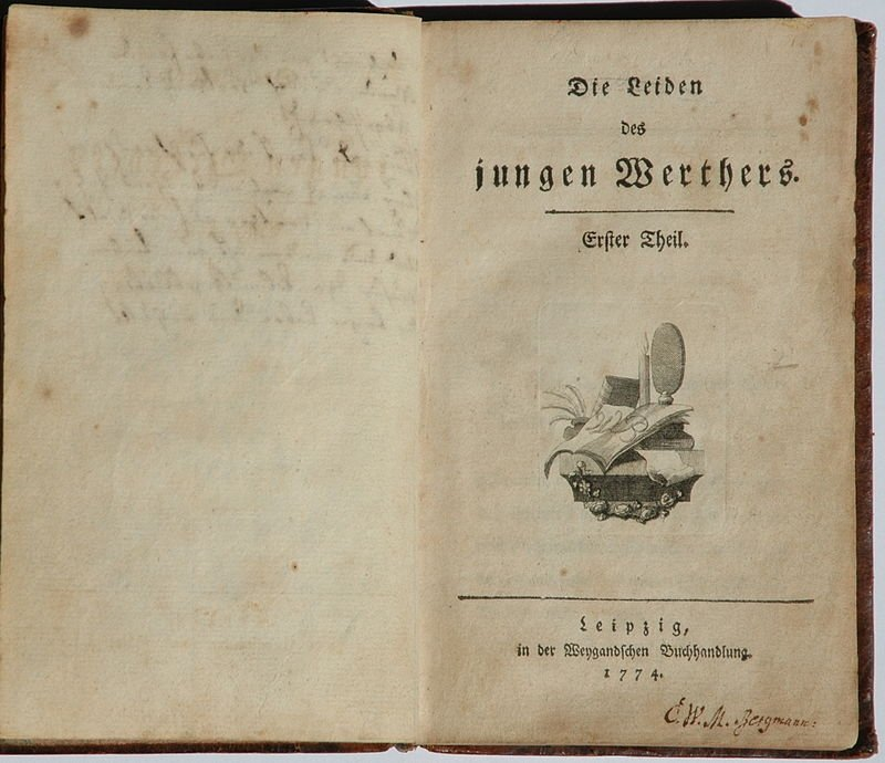"""The first edition of """"Die Leiden des jungen Werthers"""" (""""The Sorrows of Young Werther"""")."""