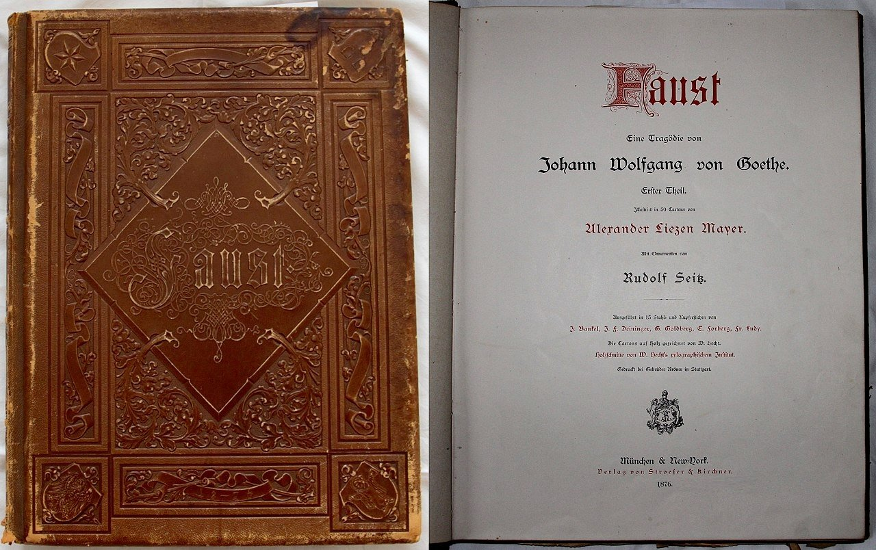 The cover and first page of 1876 book