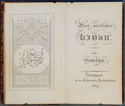 """The frontispiece and title page of the first edition of """"West–Ostlicher Divan"""" (""""West–Eastern Diwan"""")."""