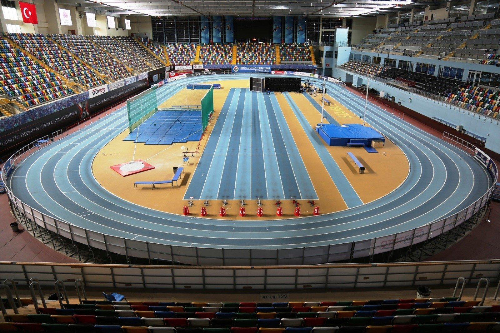 A view of Ataköy Athletics Arena where the championships will be held, in Istanbul, Turkey, Nov. 11, 2020. (İHA Photo)