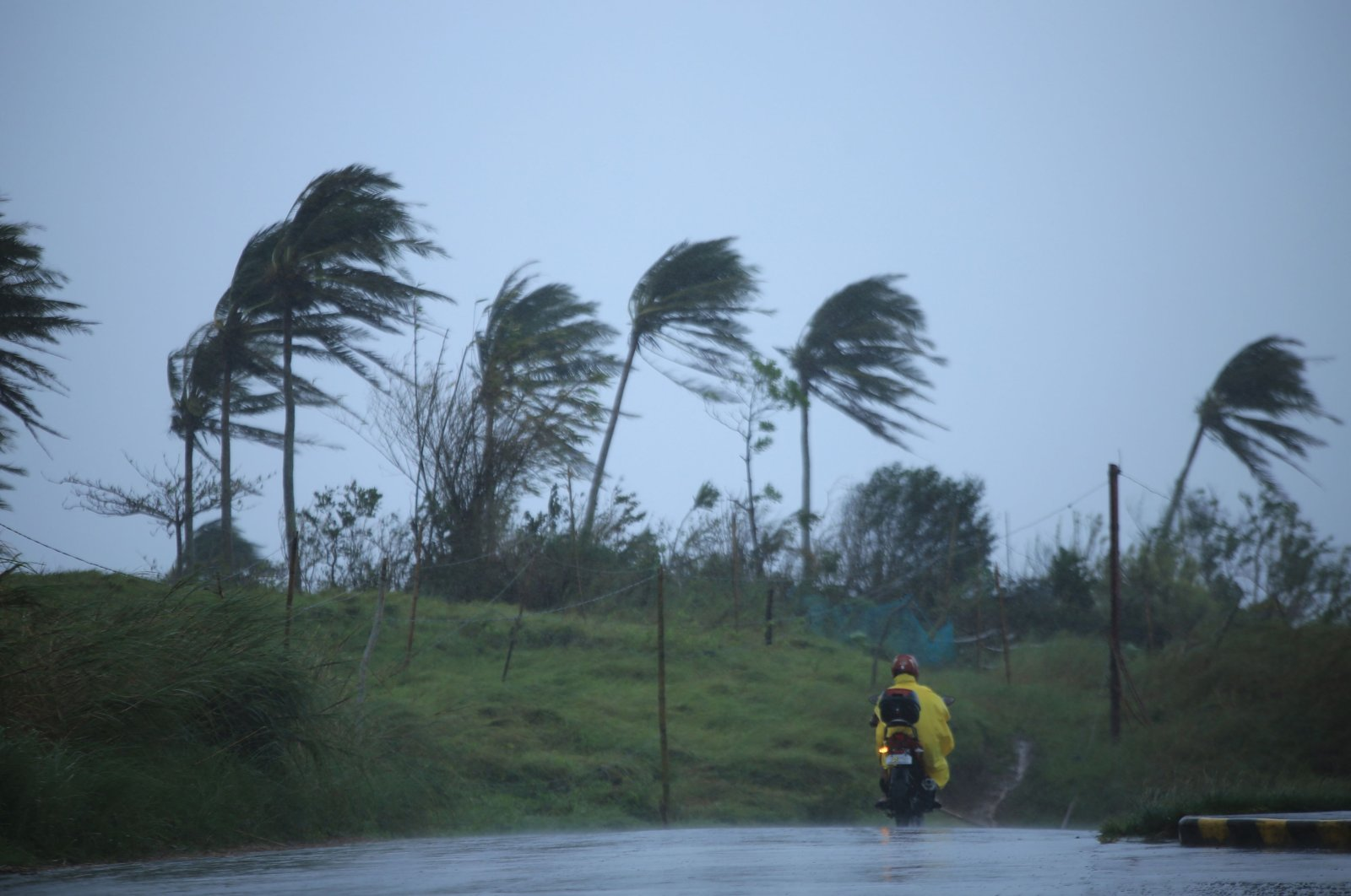 A motorist passes along a street amidst strong winds in Legazpi City, Albay province on November 11, 2020, ahead of the landfall of Tropical Storm Vamco -- expected to intensify into a typhoon -- in the region devastated by two typhoons in less than three weeks. (AFP Photo)