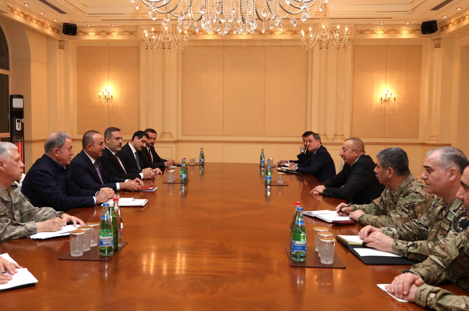 Turkish Defense Minister Hulusi Akar, Foreign Minister Mevlüt Çavuşoğlu and military commanders attend a meeting with Azerbaijani President Ilham Aliyev and military officials in Baku on Nov. 10, 2020.(AA Photo)
