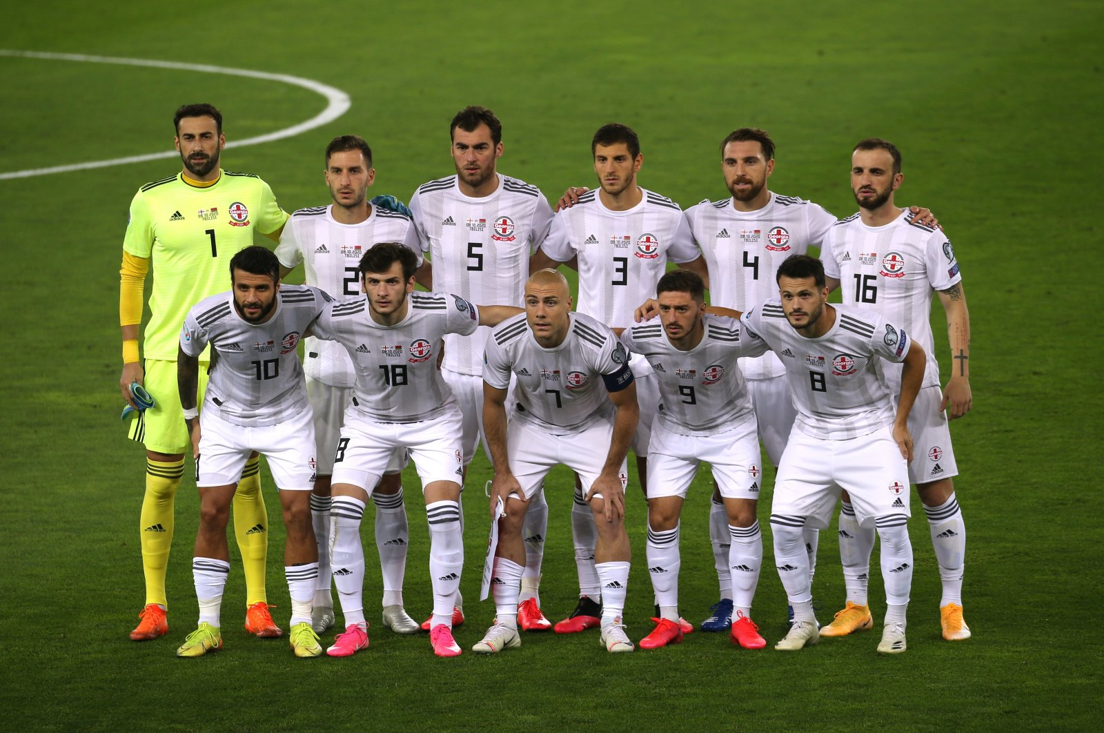 Georgia players pose for a team group photo before a match against Belarus, in Tbilisi, Georgia, Oct. 8, 2020. (Reuters Photo)