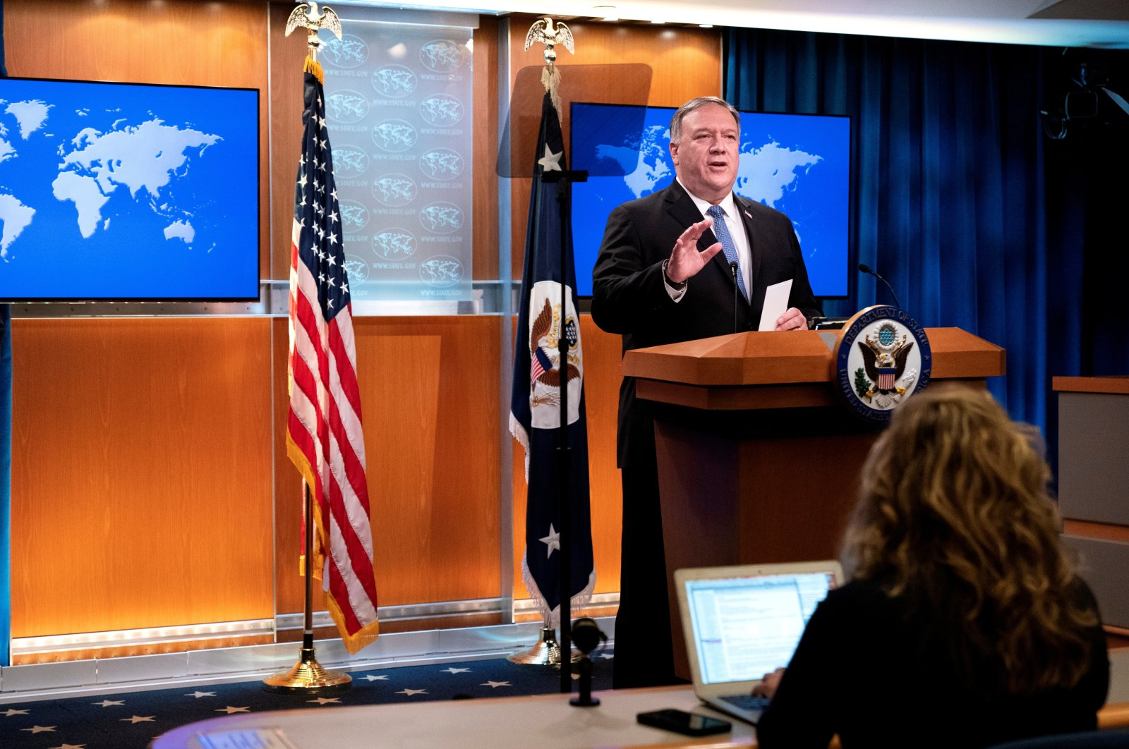 U.S. Secretary of State Mike Pompeo speaks during a media briefing at the State Department, Washington, U.S., Nov. 10, 2020. (REUTERS Photo)