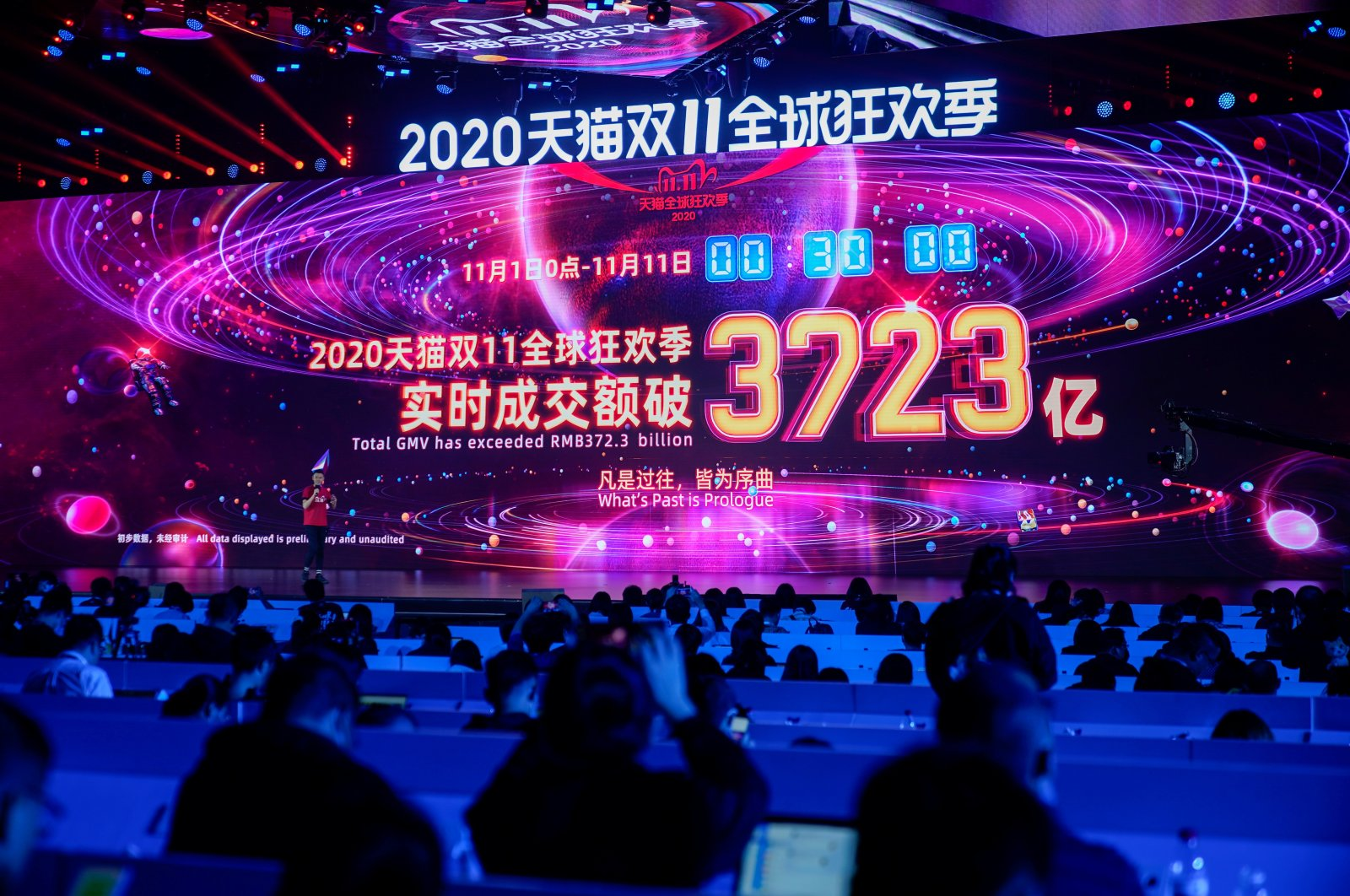 A screen shows the value of goods being transacted during Alibaba Group's Singles' Day global shopping festival at a media center in Hangzhou, Zhejiang province, China, Nov. 11, 2020. (Reuters Photo)