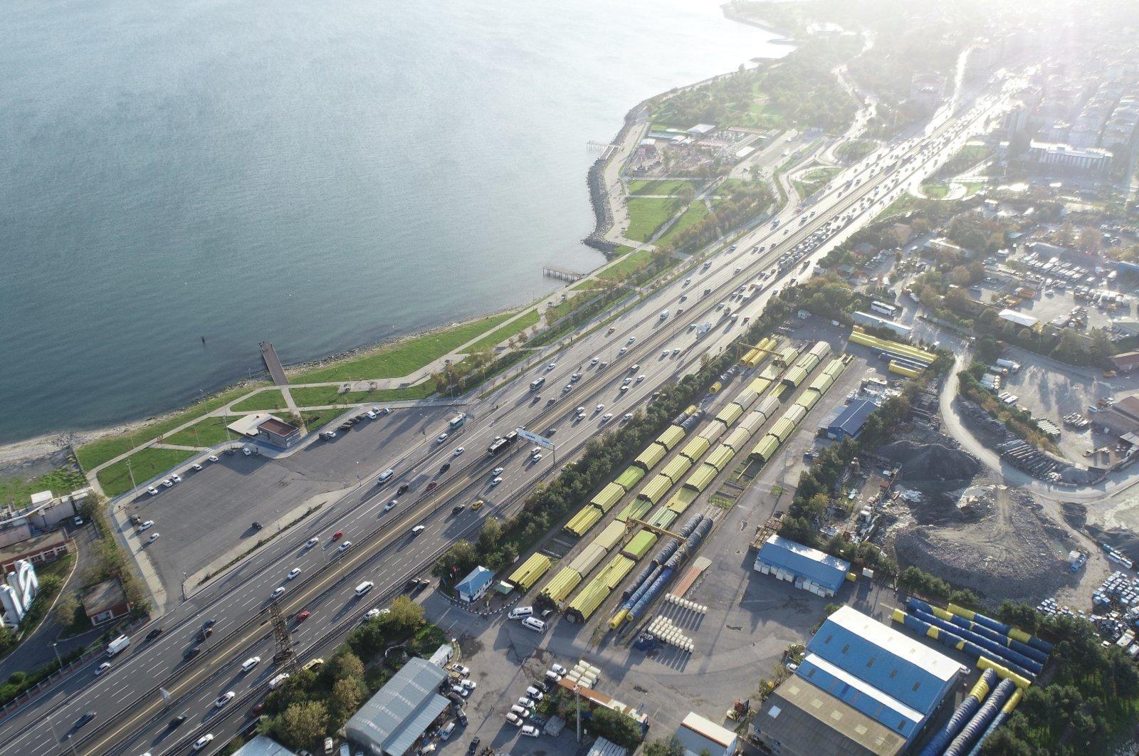 An aerial view of the coastal strip between Avcılar and Küçükçekmece districts, in Istanbul, Turkey, Nov. 11, 2020. (DHA Photo)