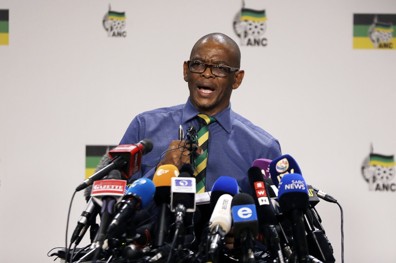 Secretary-general of the ruling African National Congress, (ANC) Ace Magashule, speaks at a briefing at the ANC headquarters in Johannesburg, Feb. 13, 2018. (AP Photo)