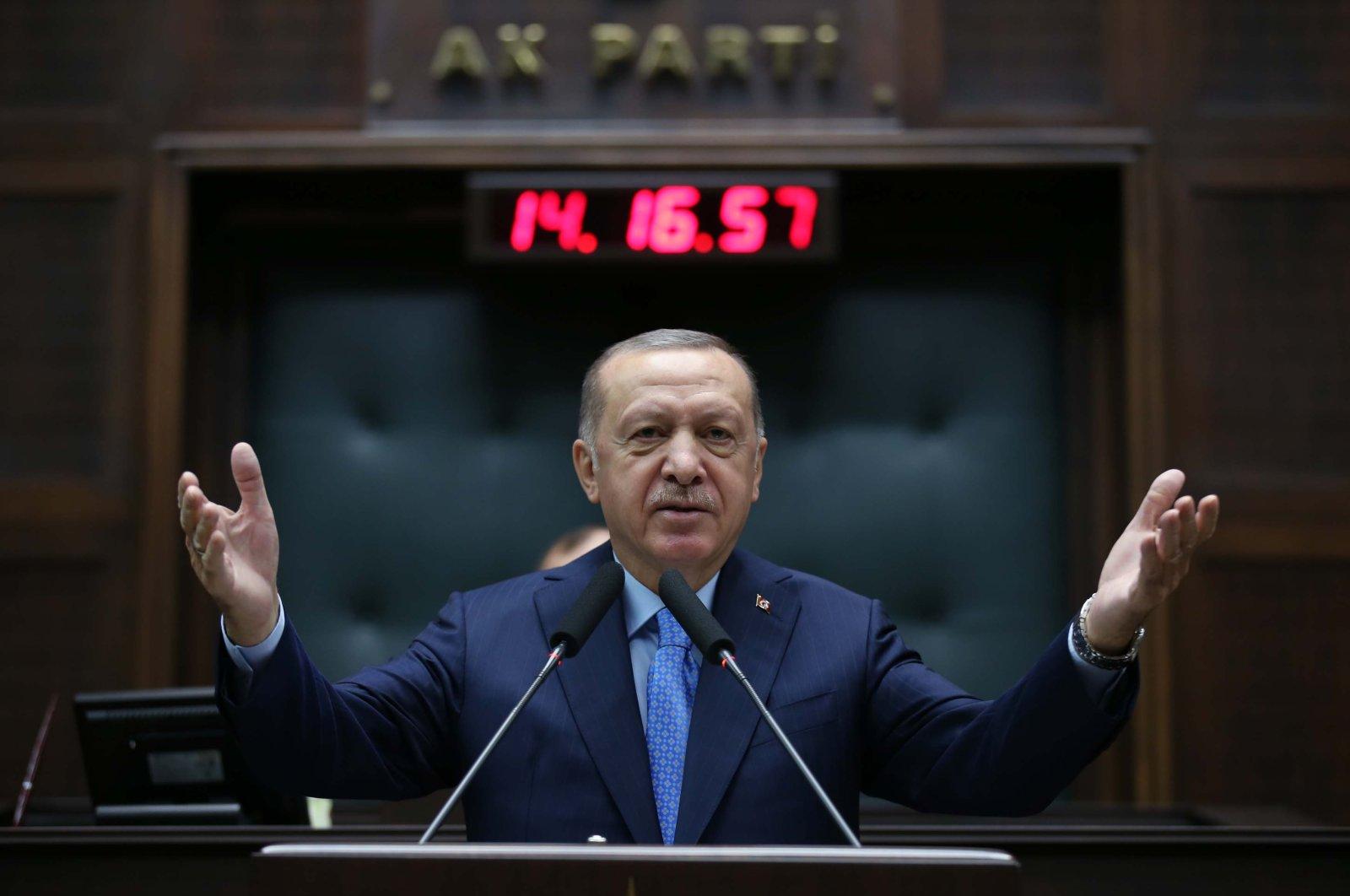 President Recep Tayyip Erdoğan addresses his fellow party members at AK Party's parliamentary group meeting in the capital Ankara, Nov. 11, 2020. (DHA)