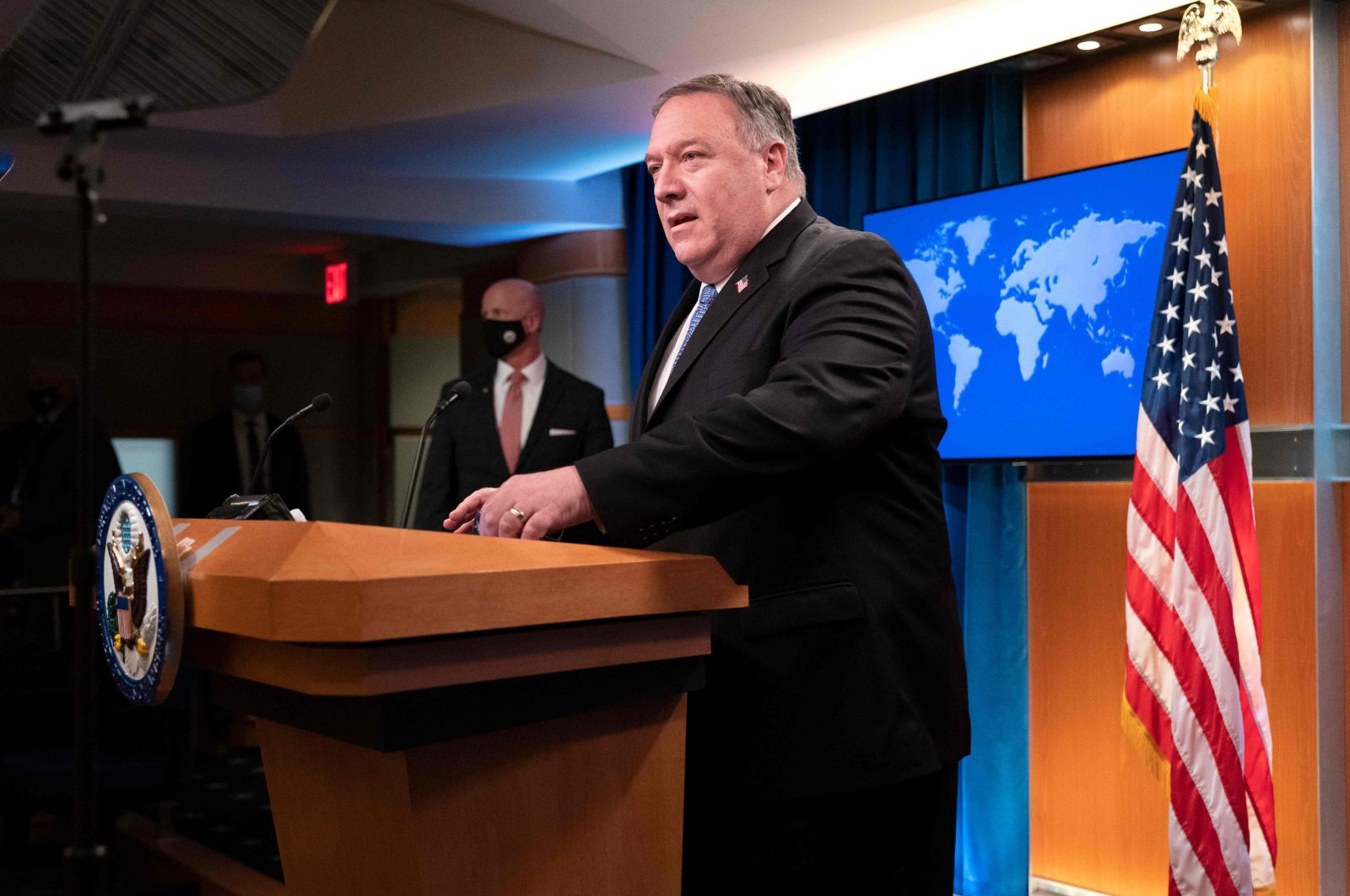 U.S. Secretary of State Mike Pompeo speaks during a media briefing at the State Department in Washington, D.C., Nov. 10, 2020. (AFP Photo)