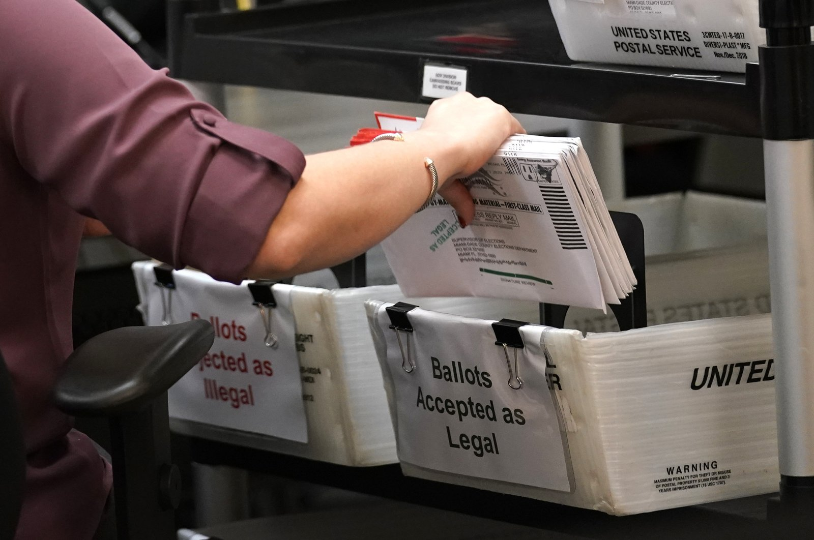 Election worker sorts mail-in ballots at the Miami-Dade County Board of Elections, in Doral, Florida. Oct. 26, 2020 (AP Photo)