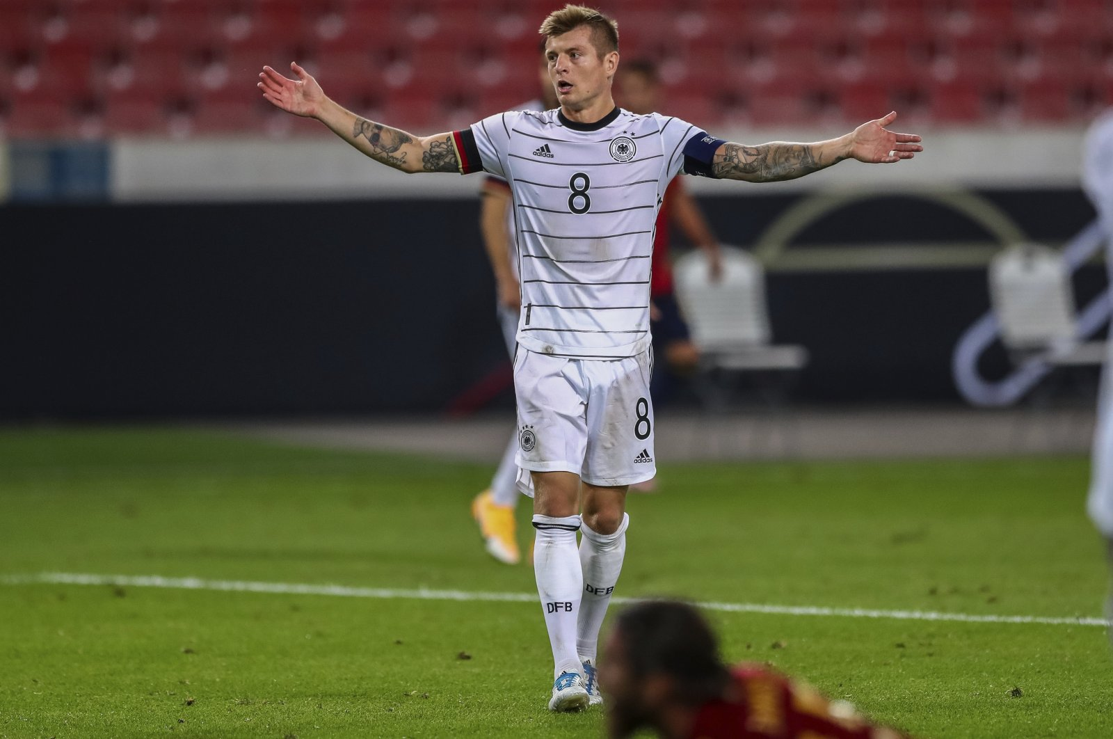Germany's Toni Kroos reacts during a UEFA Nations League match against Spain, in Stuttgart, Germany, Sept. 3, 2020. (AP Photo)
