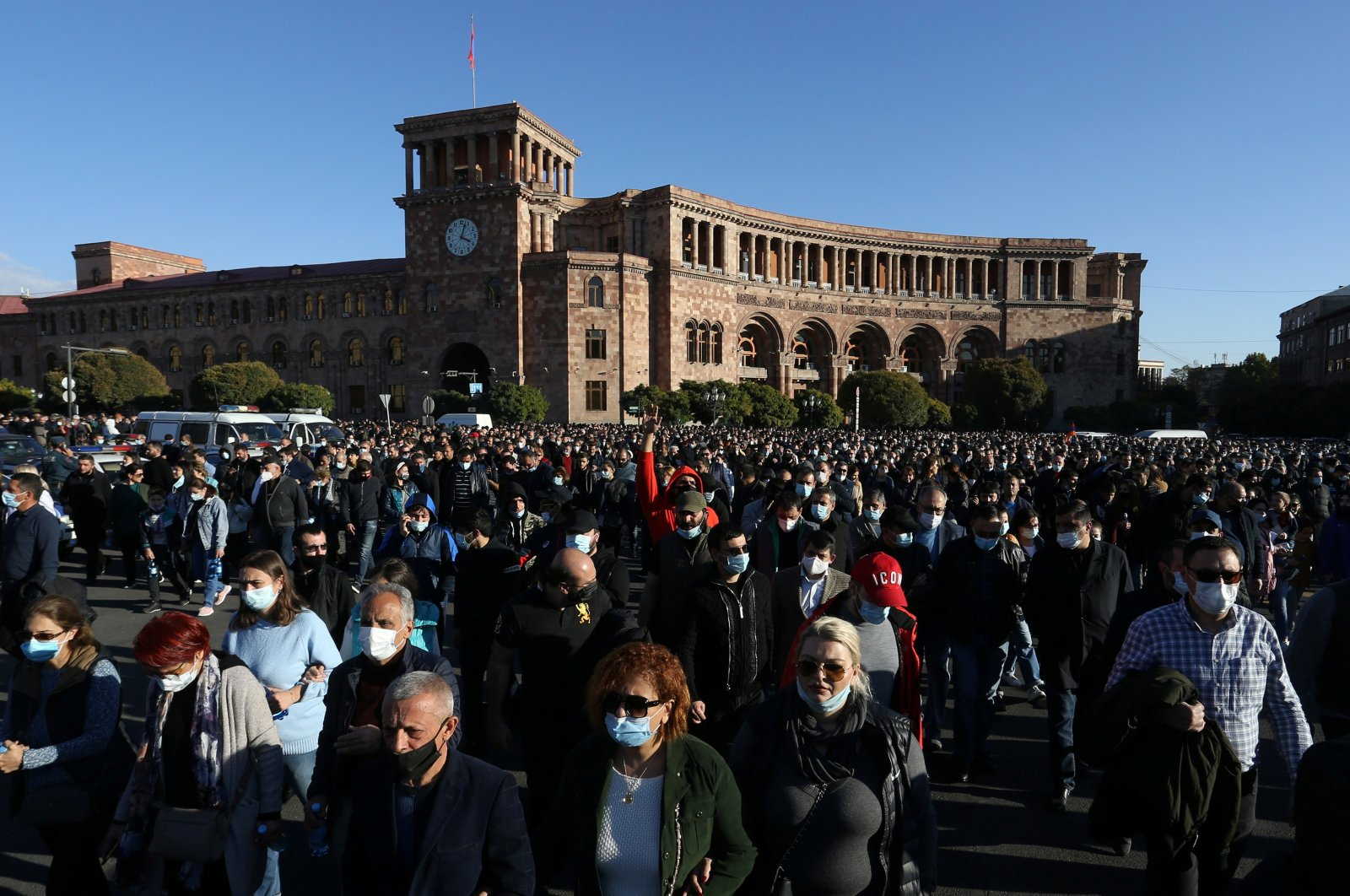People attend an opposition rally to demand the resignation of Armenian Prime Minister Nikol Pashinian following the signing of a deal to end the military conflict over the Nagorno-Karabakh region, in Yerevan, Armenia November 11, 2020. (Vahram Baghdasaryan / Photolure via Reuters)