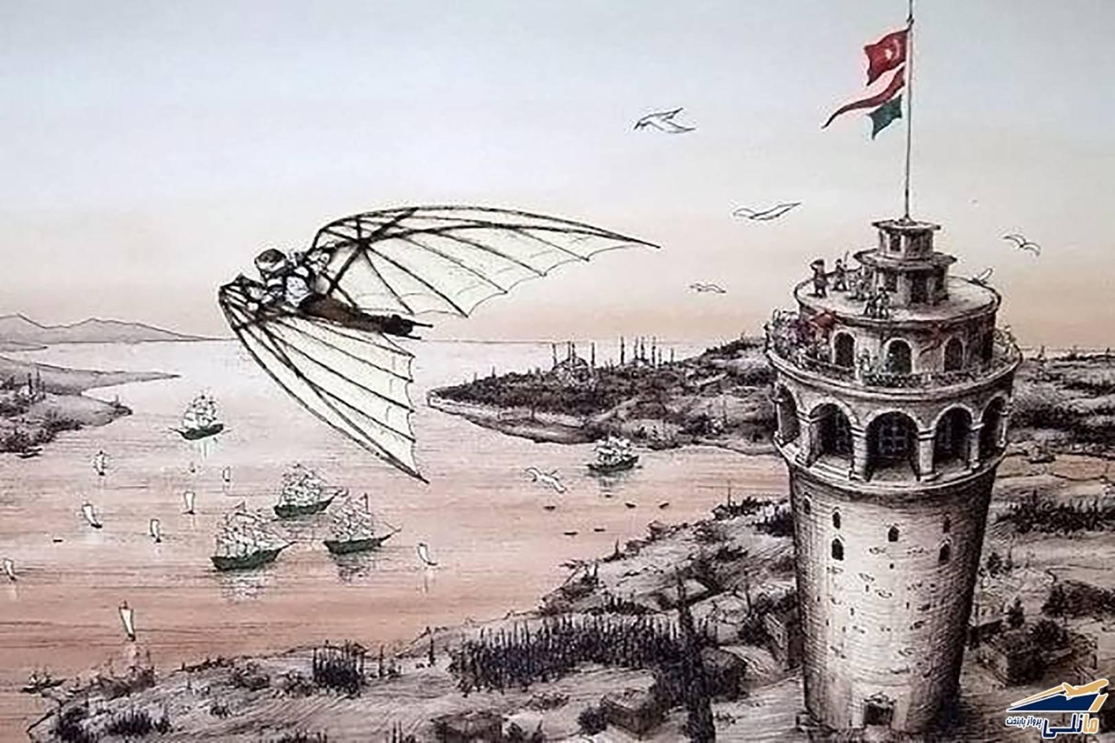 An illustration depicting Hazerfen Ahmet Çelebi's historic flight from the Galata Tower.